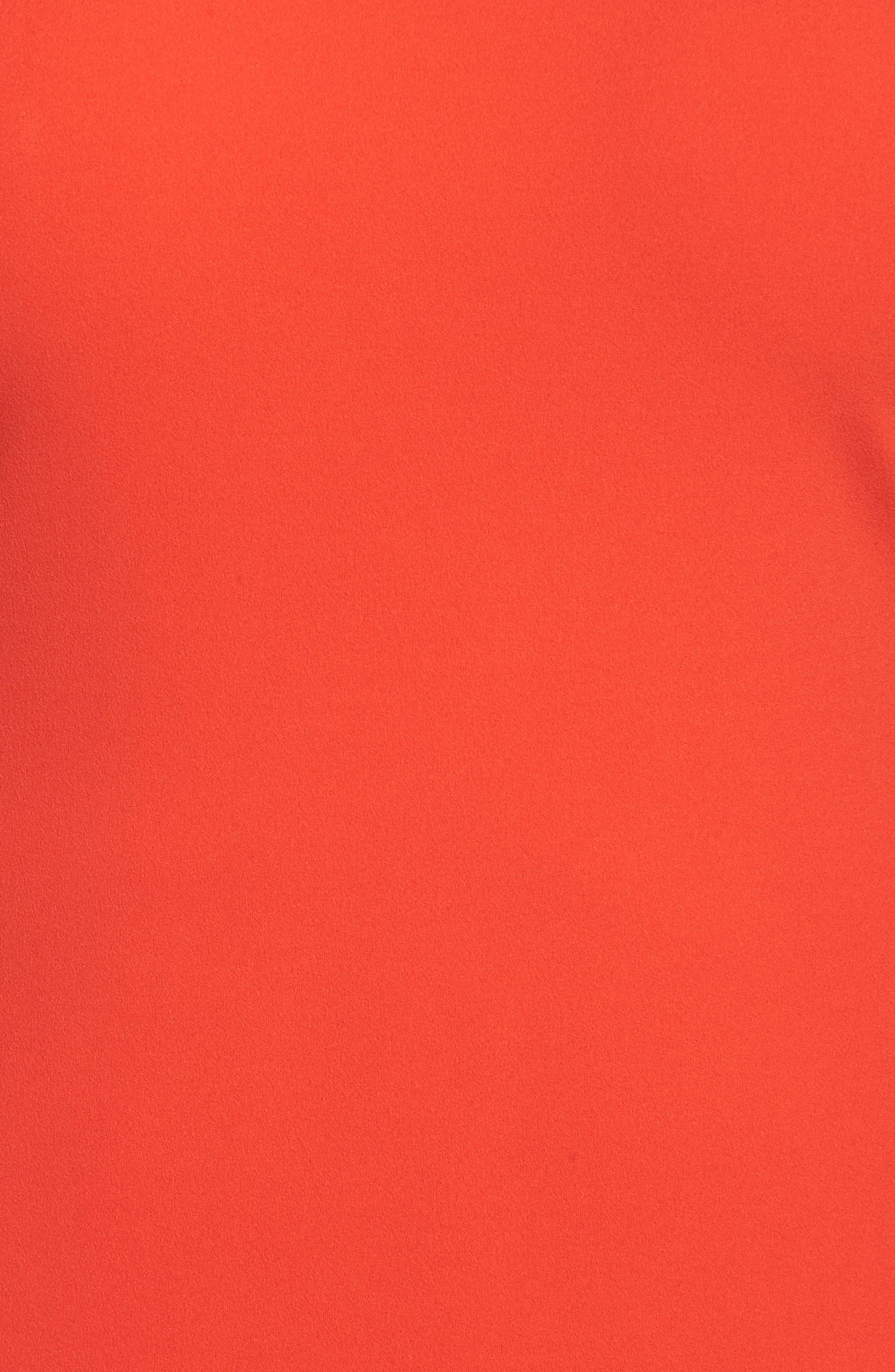 Tie Bell Sleeve Ponte Shift Dress,                             Alternate thumbnail 5, color,                             Geranium