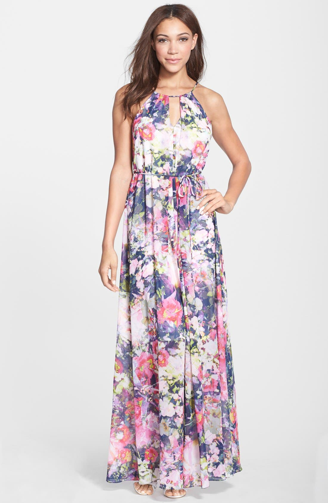 Alternate Image 1 Selected - Maggy London Floral Print Chiffon Keyhole Maxi Dress
