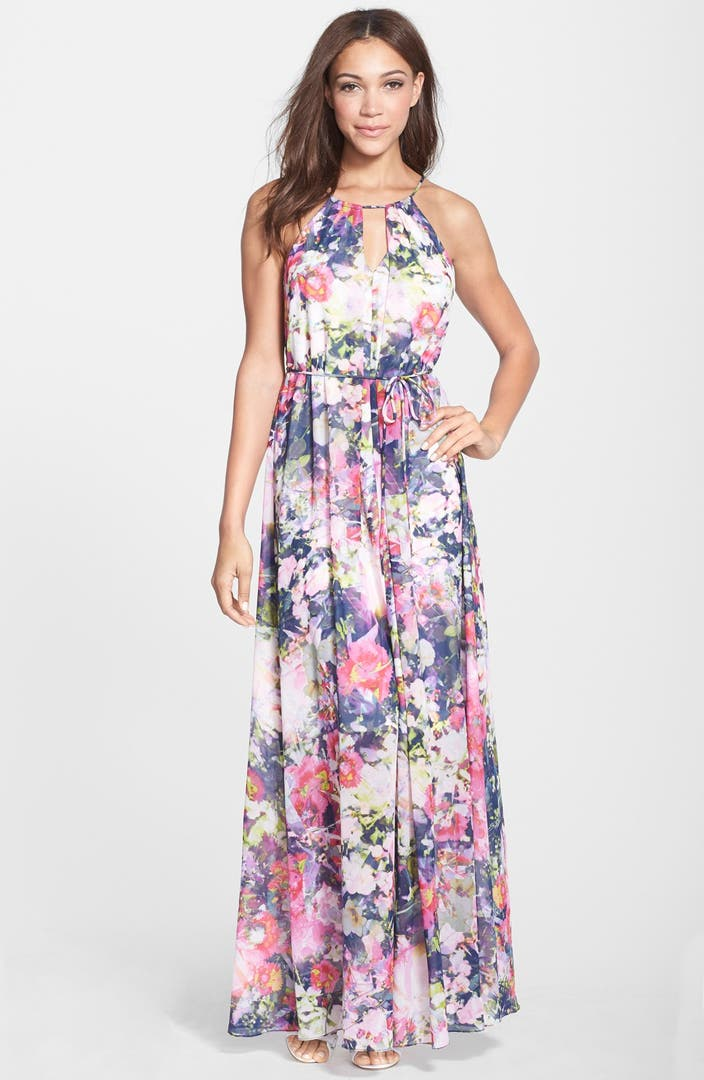 Maggy London Floral Print Chiffon Keyhole Maxi Dress