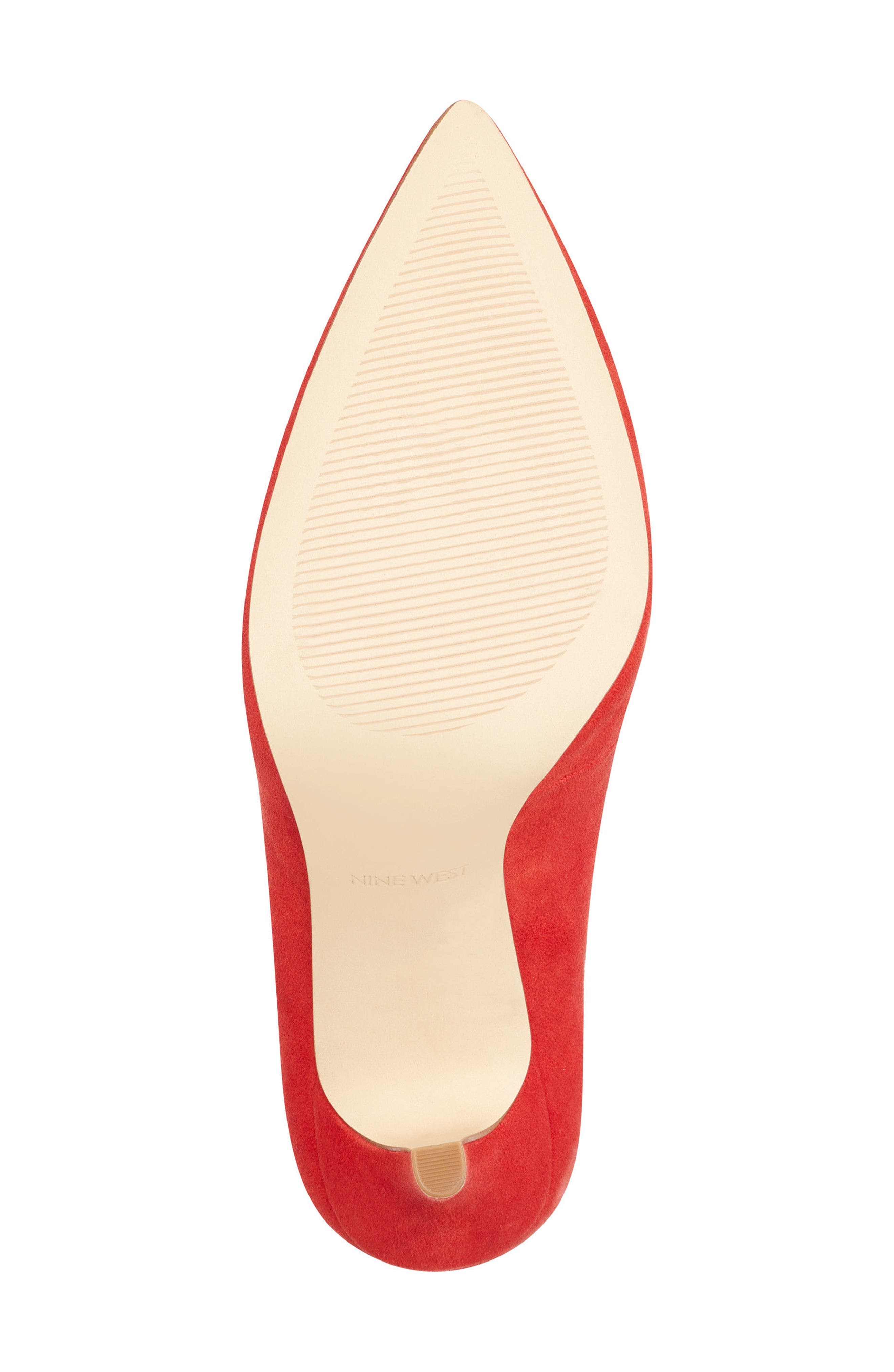 Marquisha Scalloped Ankle Strap Pump,                             Alternate thumbnail 6, color,                             Red Suede