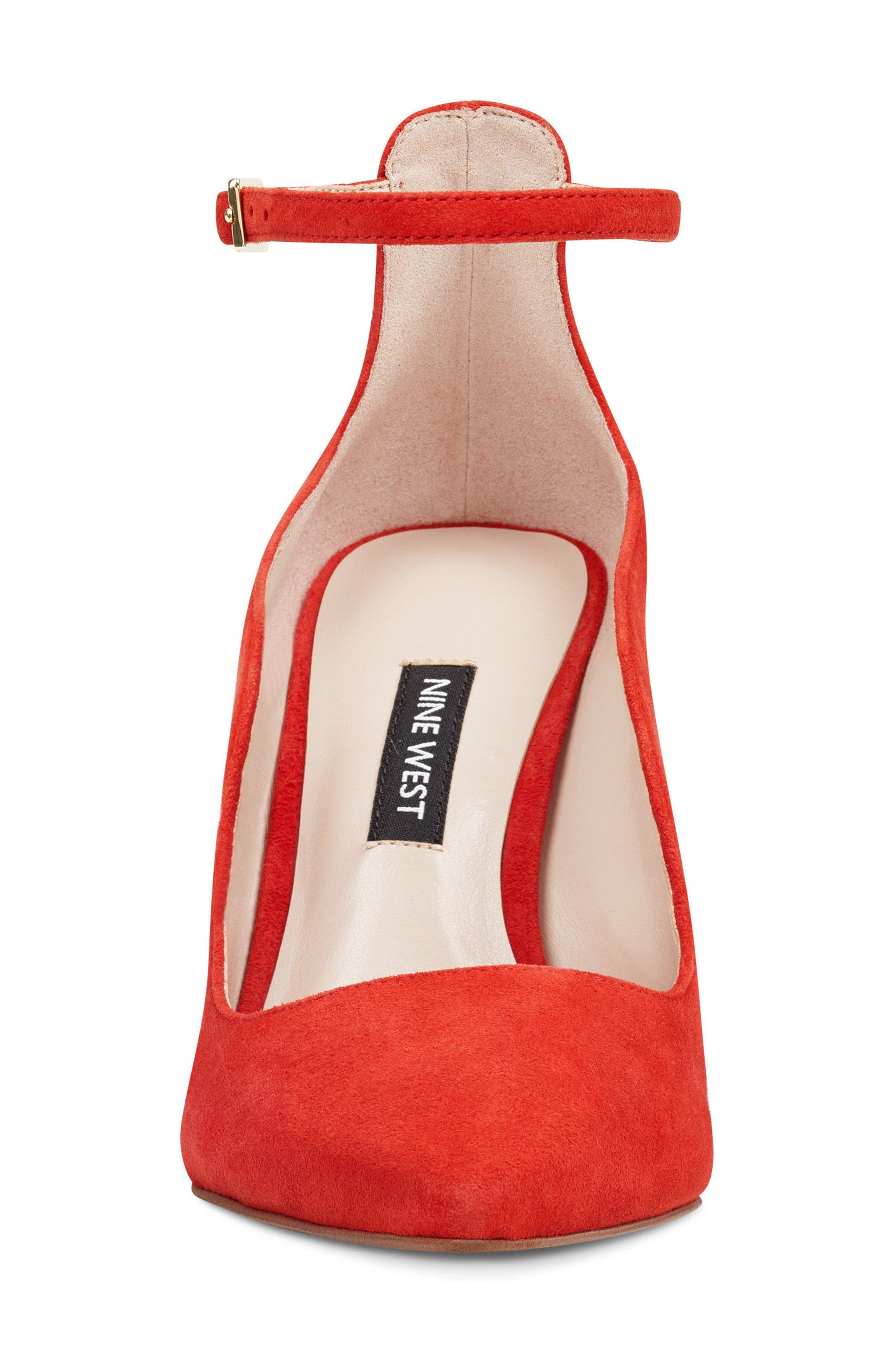 Marquisha Scalloped Ankle Strap Pump,                             Alternate thumbnail 4, color,                             Red Suede