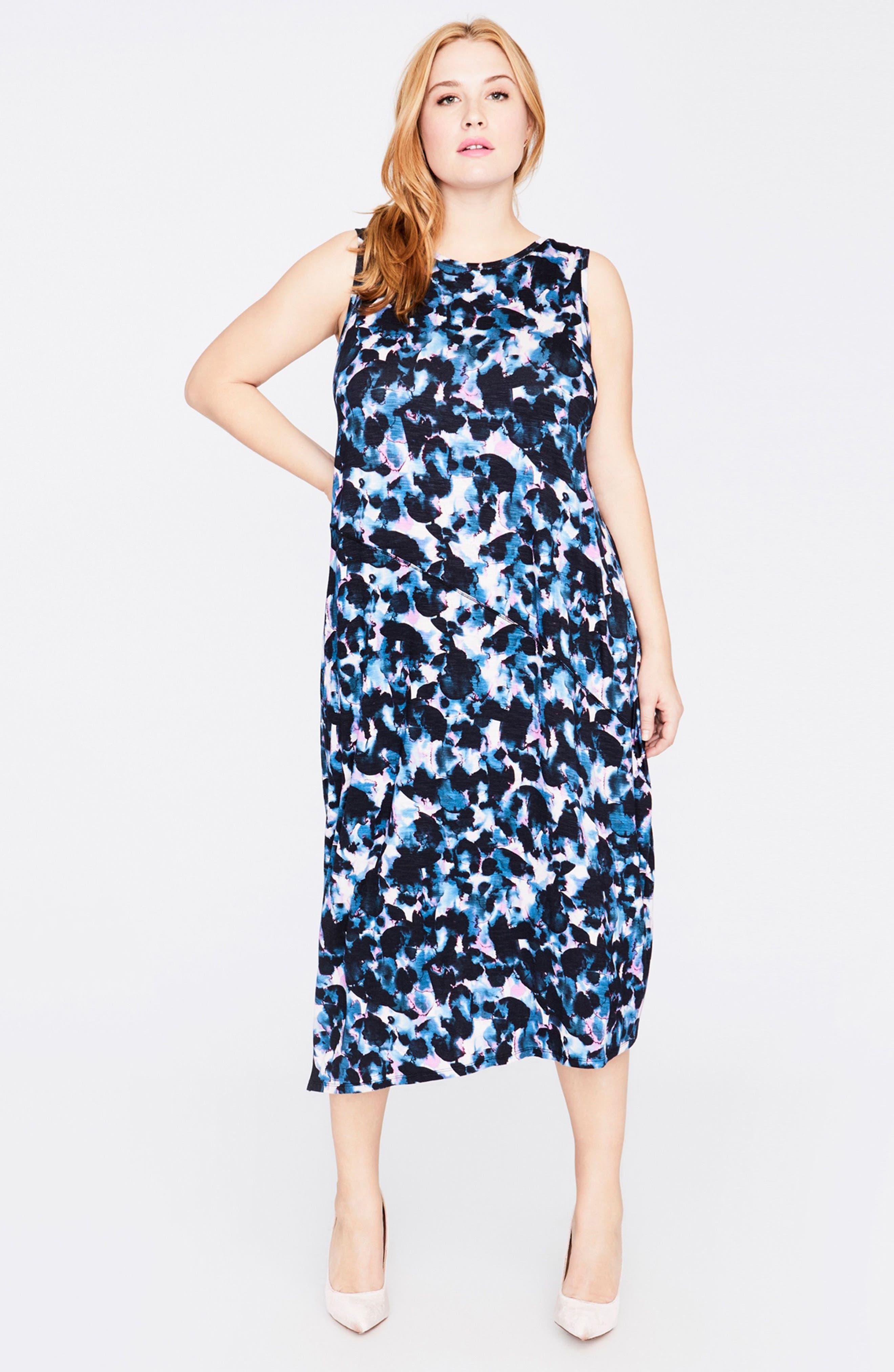 Print Drape Back Midi Dress,                             Alternate thumbnail 2, color,                             True Navy Combo
