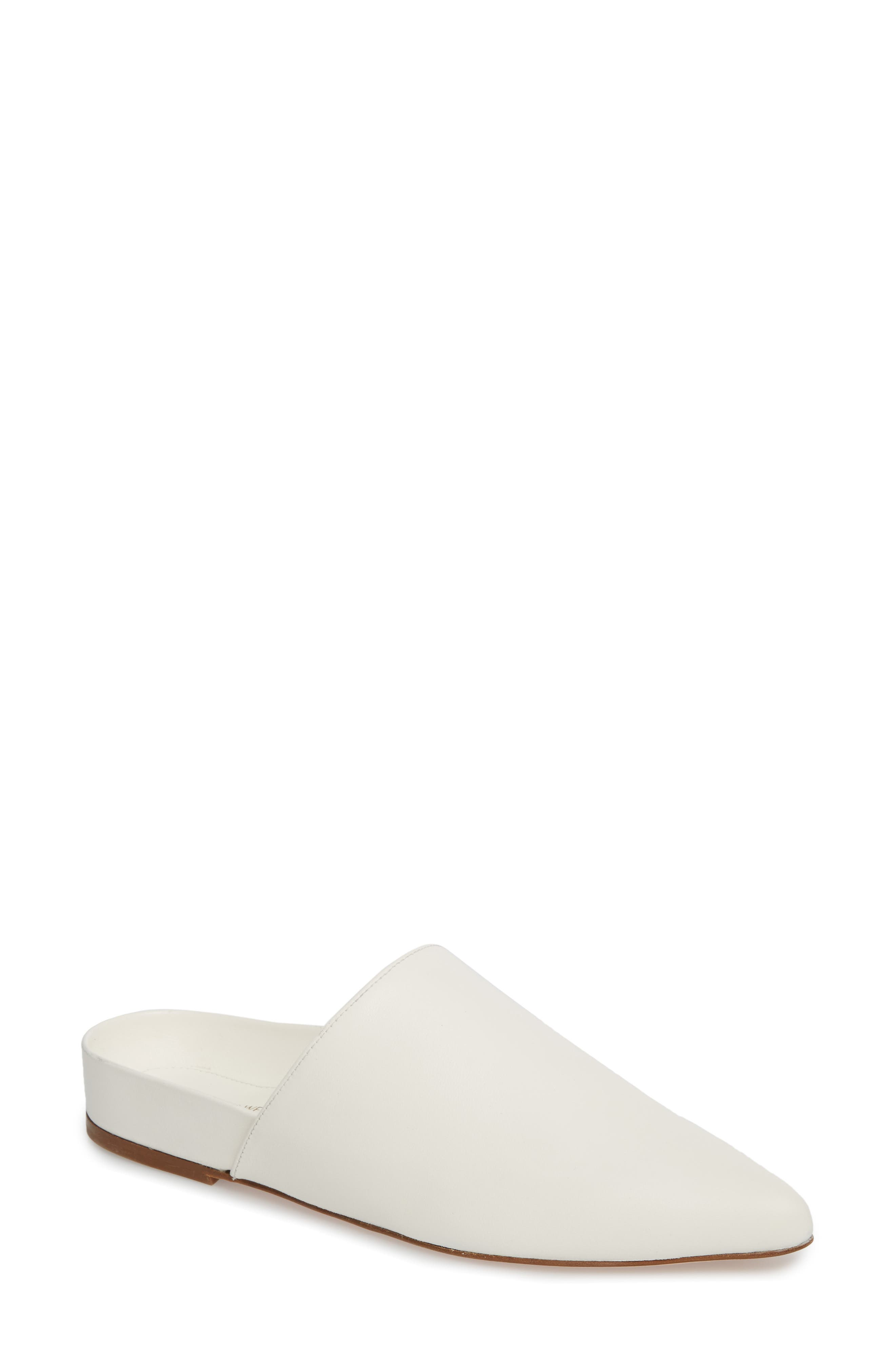 Studio Pointy Toe Flat Mule,                             Main thumbnail 1, color,                             White Smooth