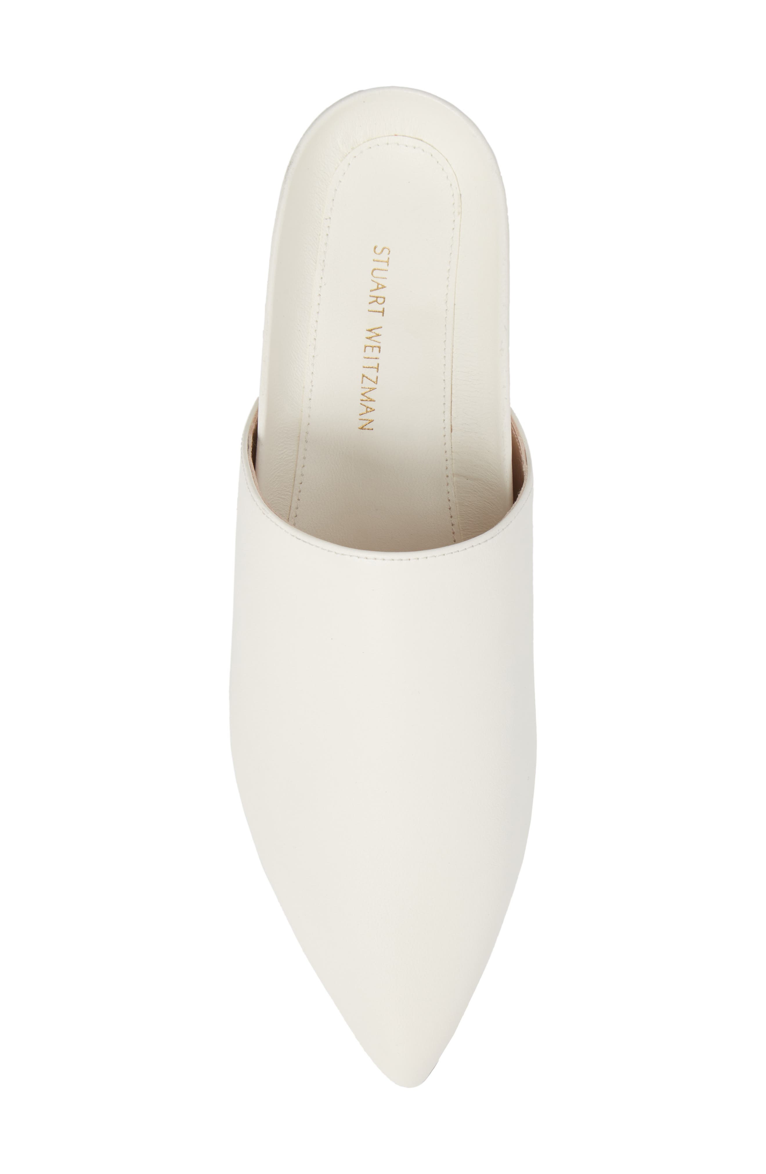 Studio Pointy Toe Flat Mule,                             Alternate thumbnail 5, color,                             White Smooth