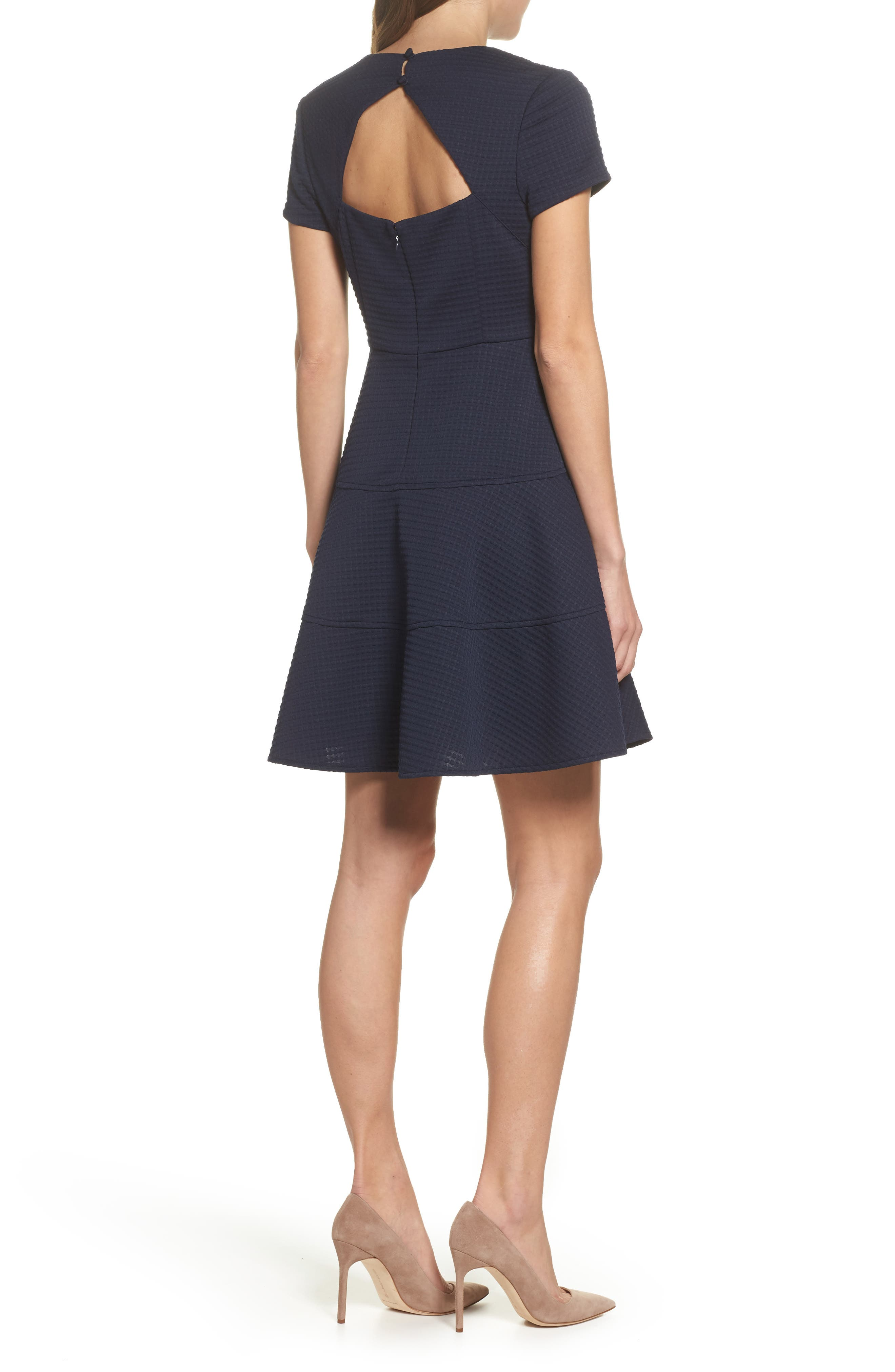 Fit & Flare Dress,                             Alternate thumbnail 2, color,                             Navy