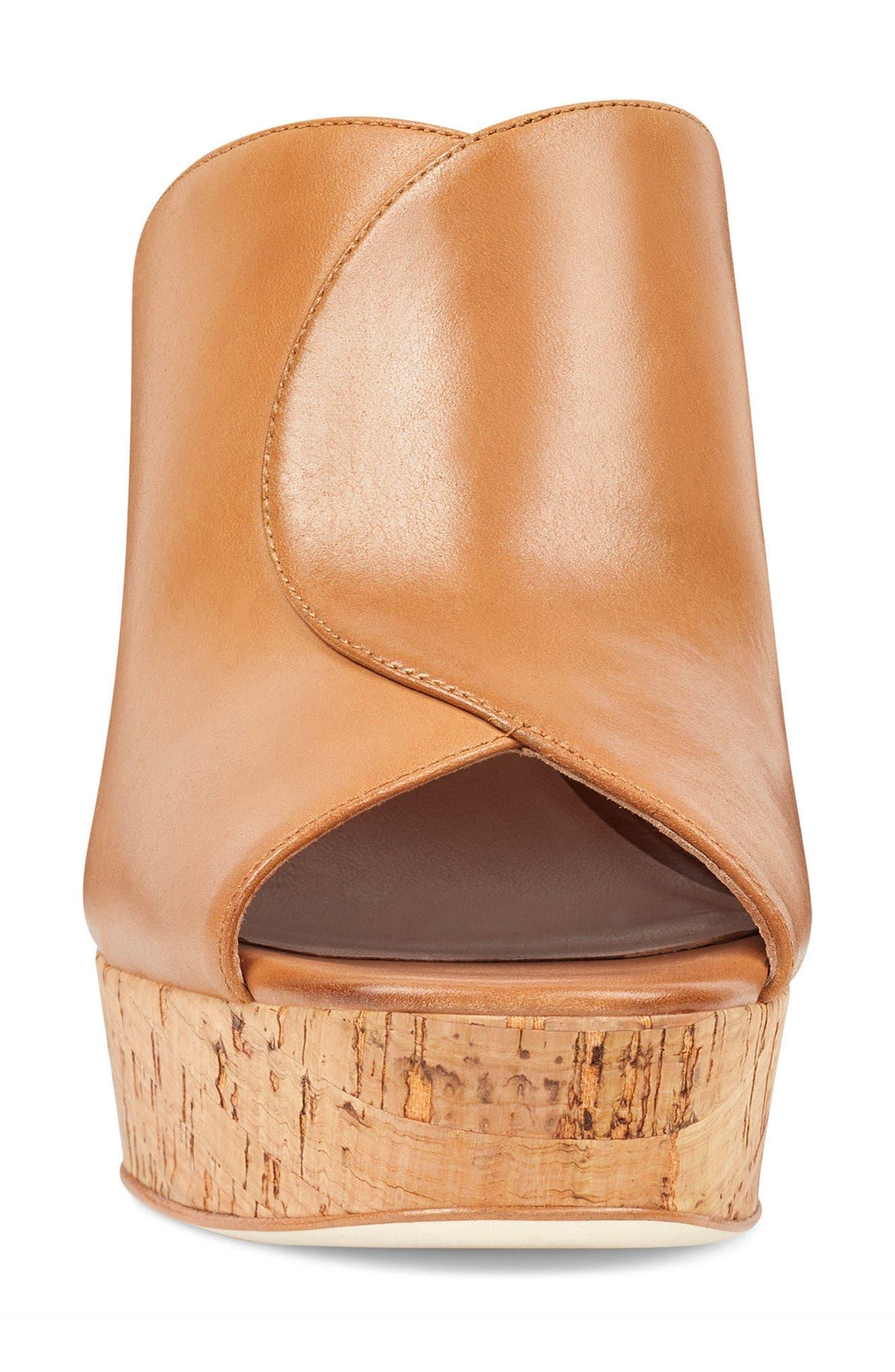 Lisana - 40th Anniversary Capsule Collection Platform Slide Sandal,                             Alternate thumbnail 4, color,                             Dark Natural Leather