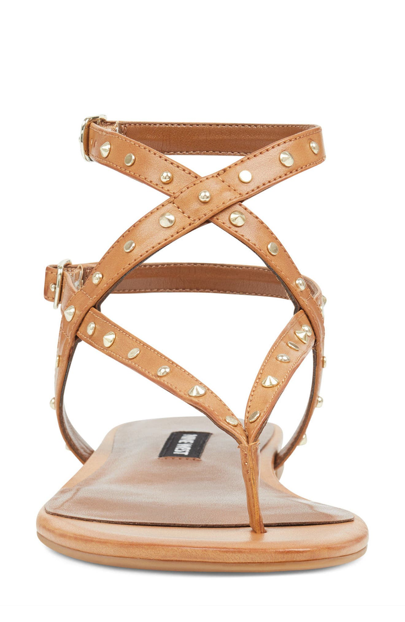 Simcha Studded Wraparound Sandal,                             Alternate thumbnail 4, color,                             Dark Natural Faux Leather