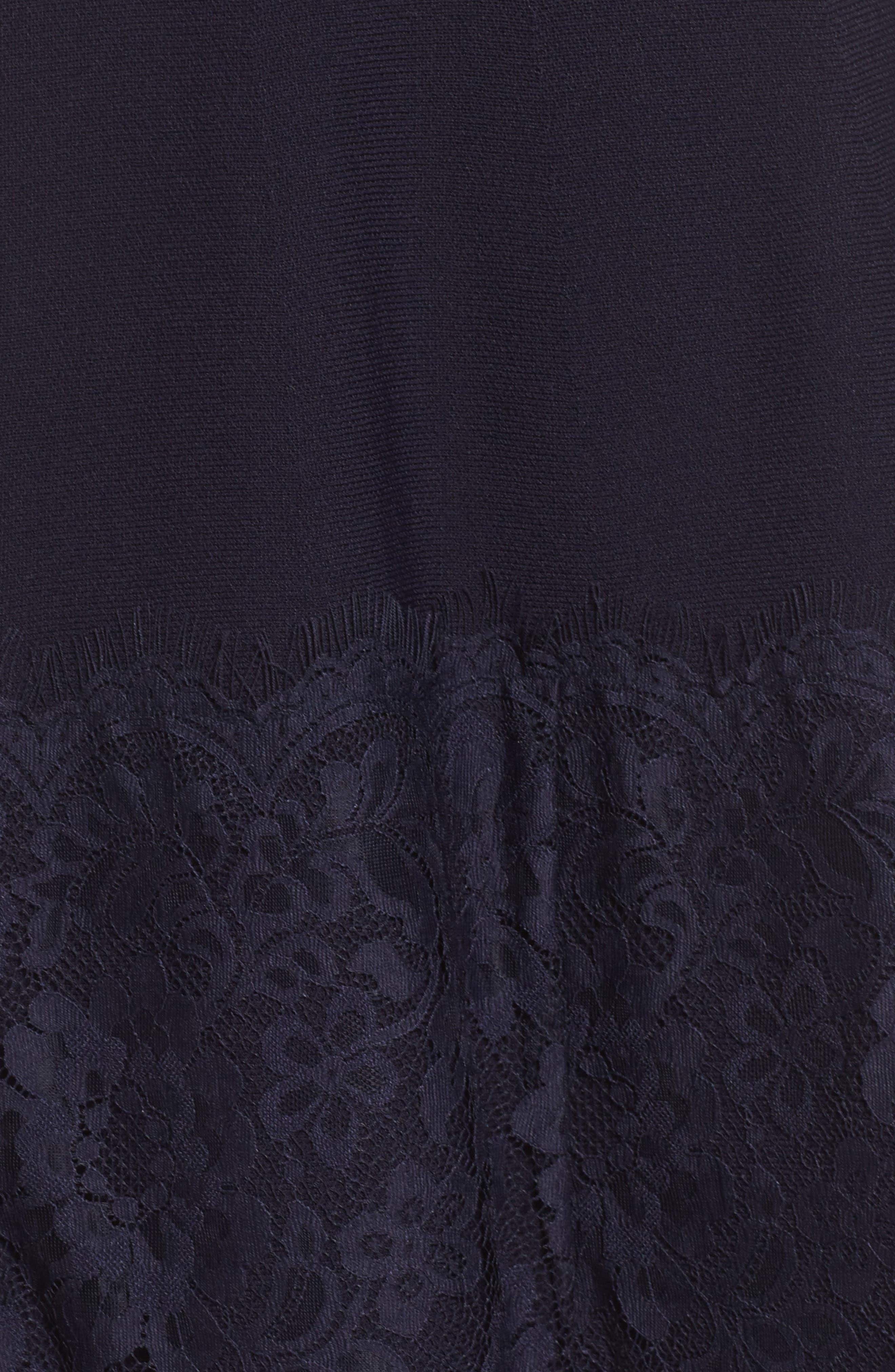 Lace Hem Fit & Flare Dress,                             Alternate thumbnail 5, color,                             Navy