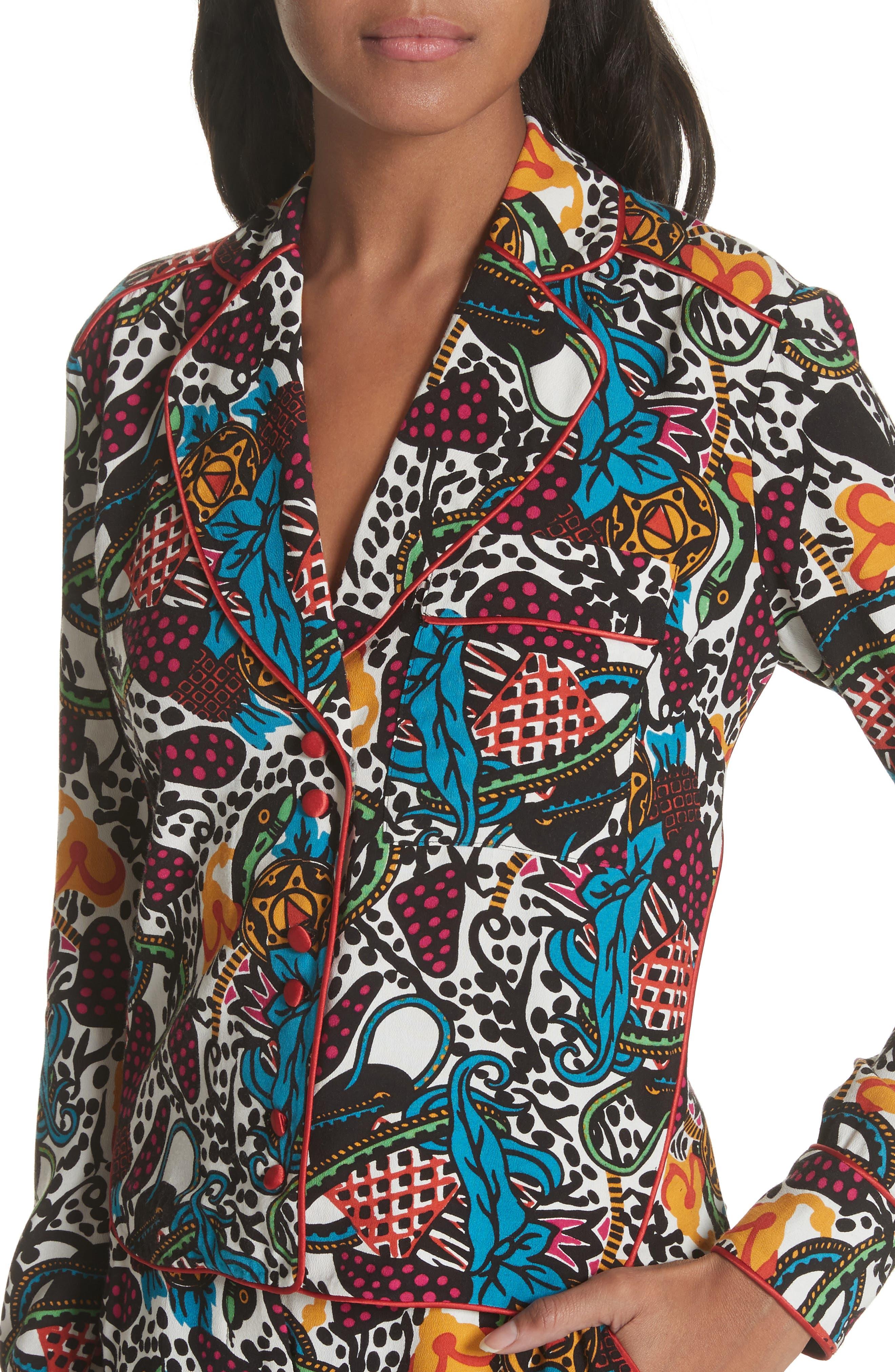 Penelope Pajama Shirt,                             Alternate thumbnail 4, color,                             Off White/ Blue/ Green/ Yellow