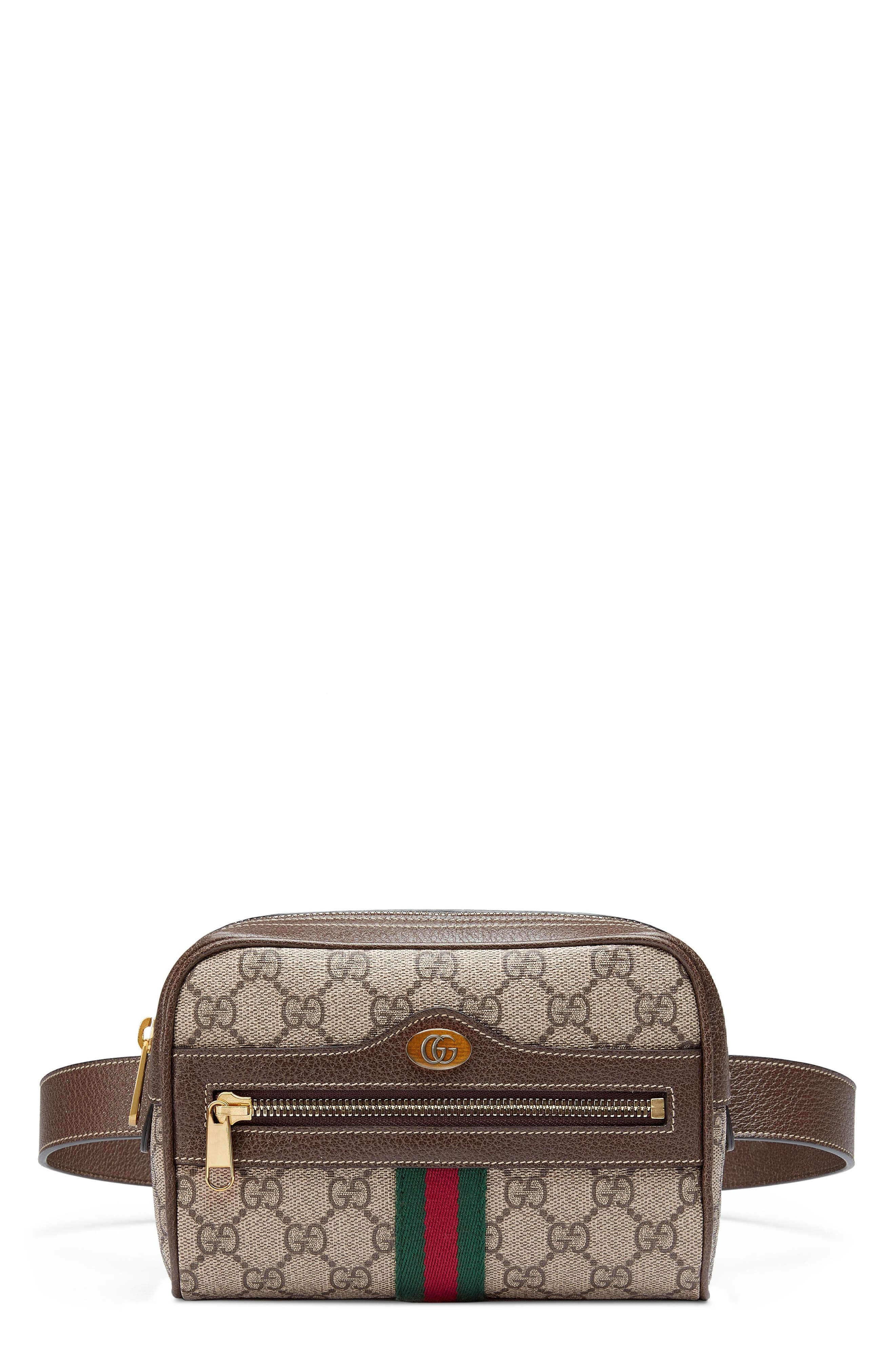 Small Ophidia GG Supreme Canvas Belt Bag,                         Main,                         color, Beige Ebony/ Acero/ Vert Red