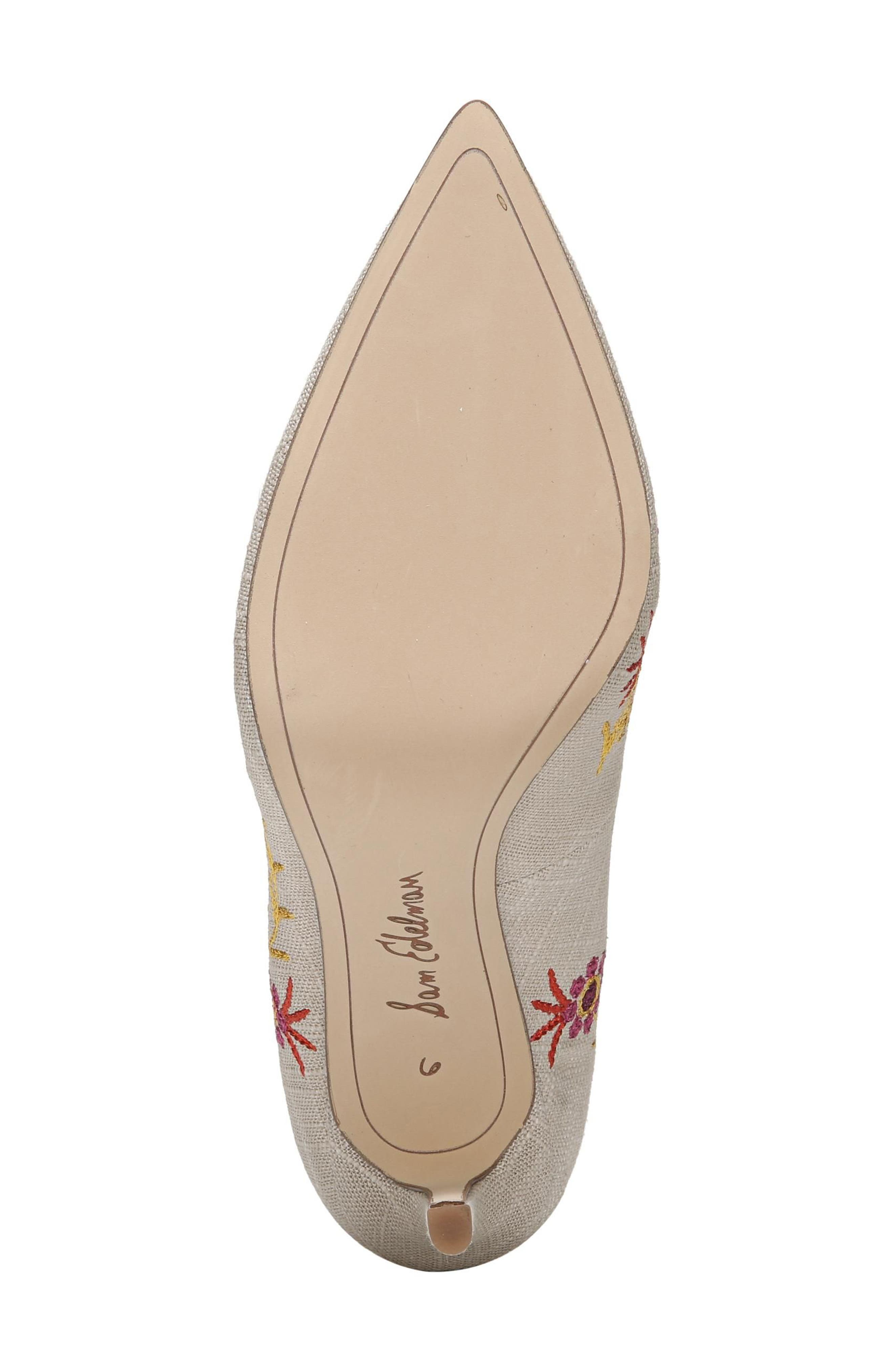 Hazel Pointy Toe Pump,                             Alternate thumbnail 6, color,                             Yellow Embroidery Suede