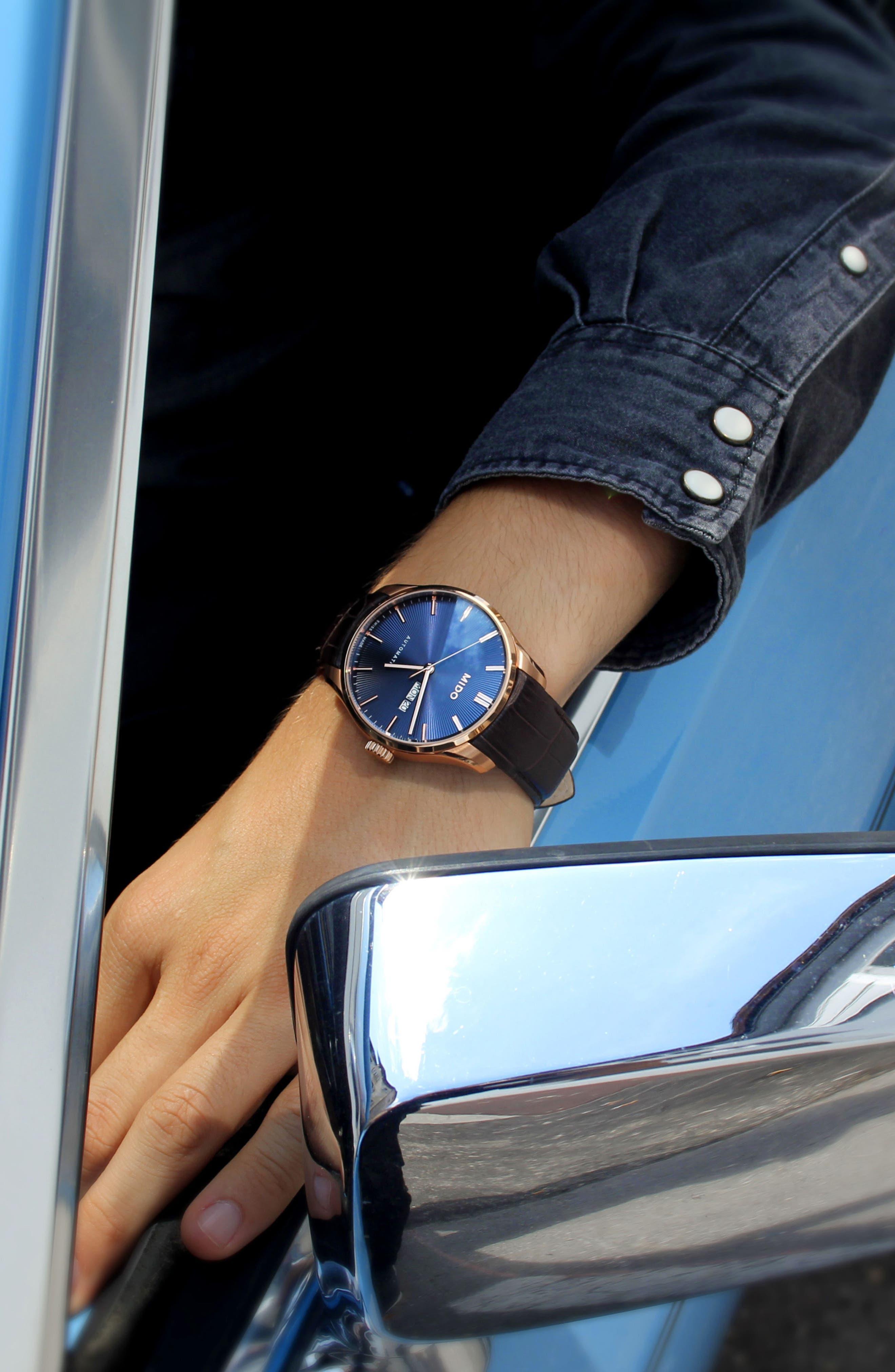 Belluna II Leather Strap Watch, 42mm,                             Alternate thumbnail 3, color,                             Brown/ Blue/ Rose Gold