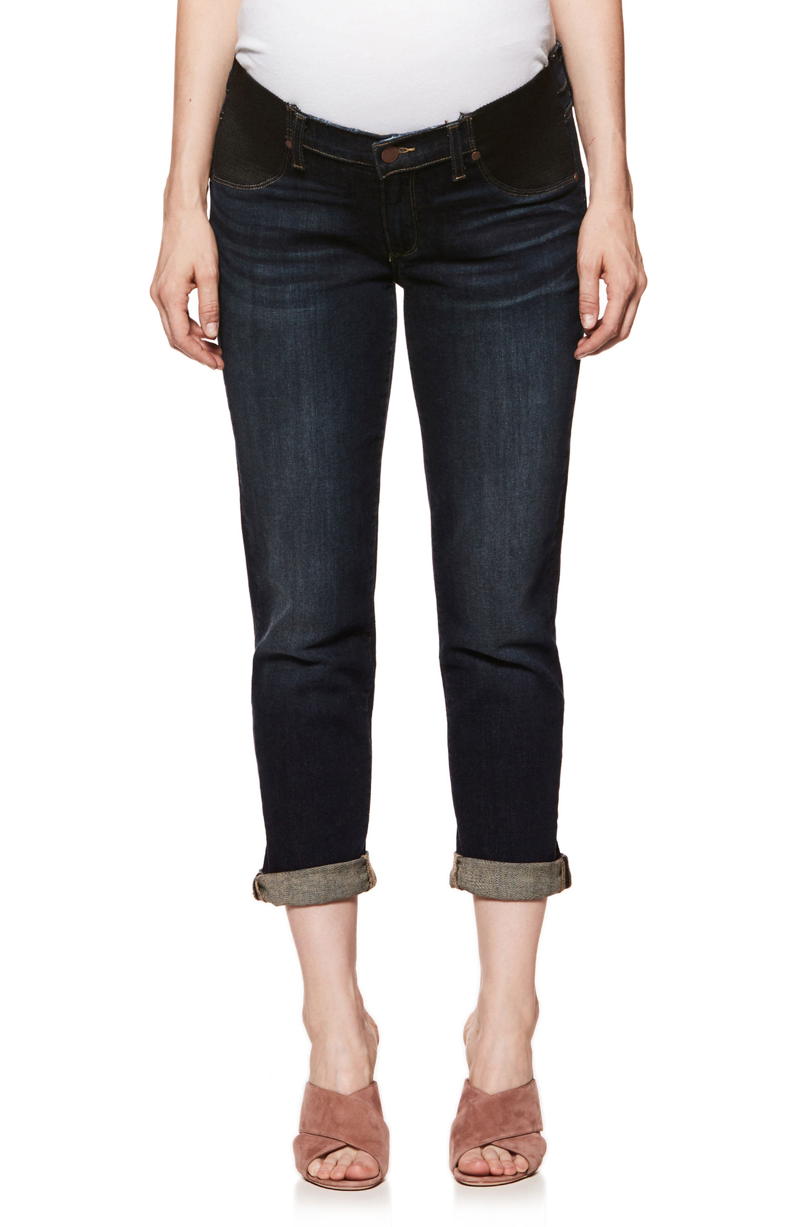 Brigitte Crop Boyfriend Maternity Jeans,                         Main,                         color, Henley Distressed