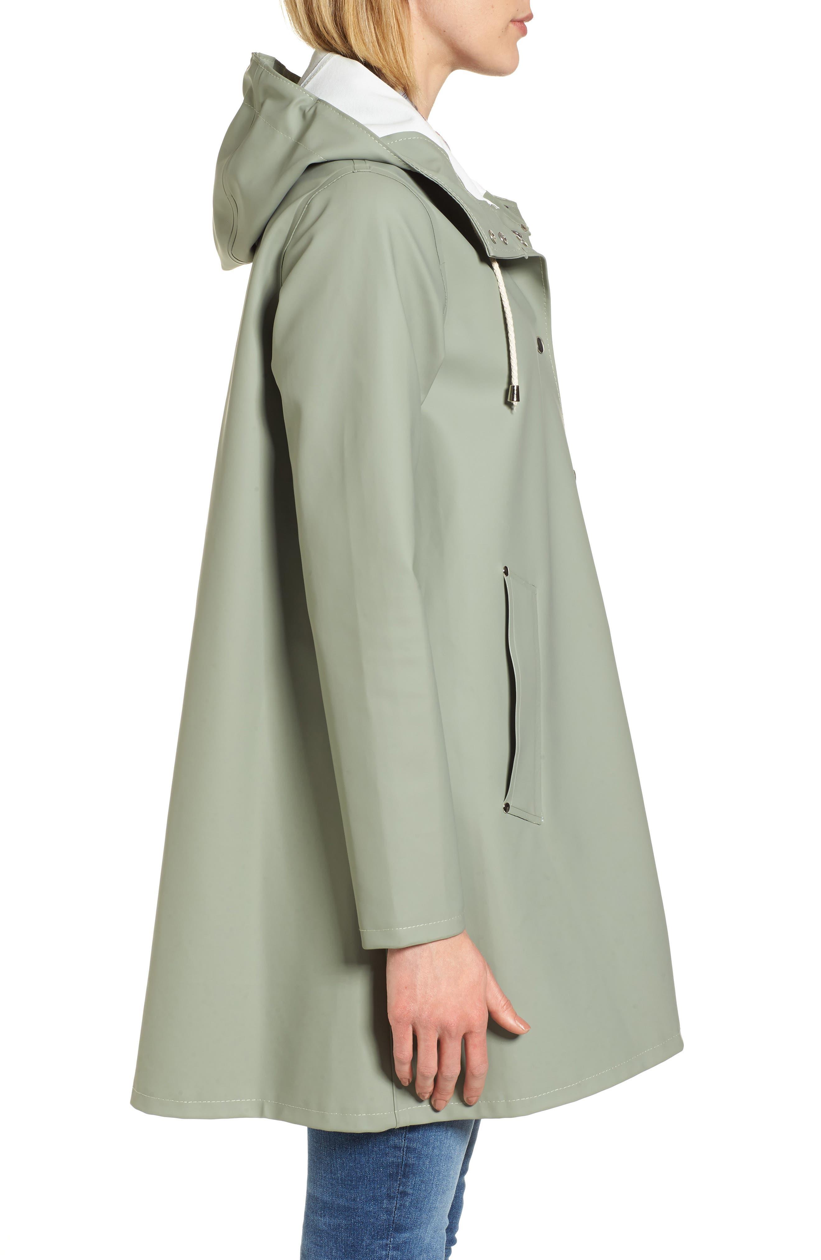 Mosebacke Waterproof A-Line Hooded Raincoat,                             Alternate thumbnail 3, color,                             Khaki Green