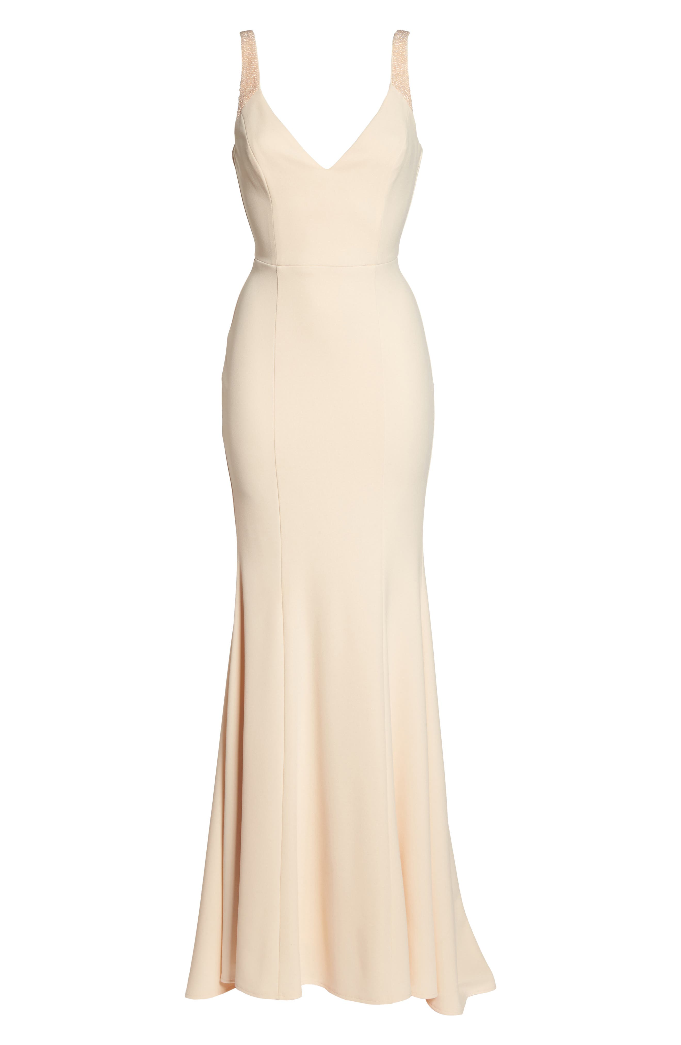 Embellished Strap Trumpet Gown,                             Alternate thumbnail 6, color,                             Blush