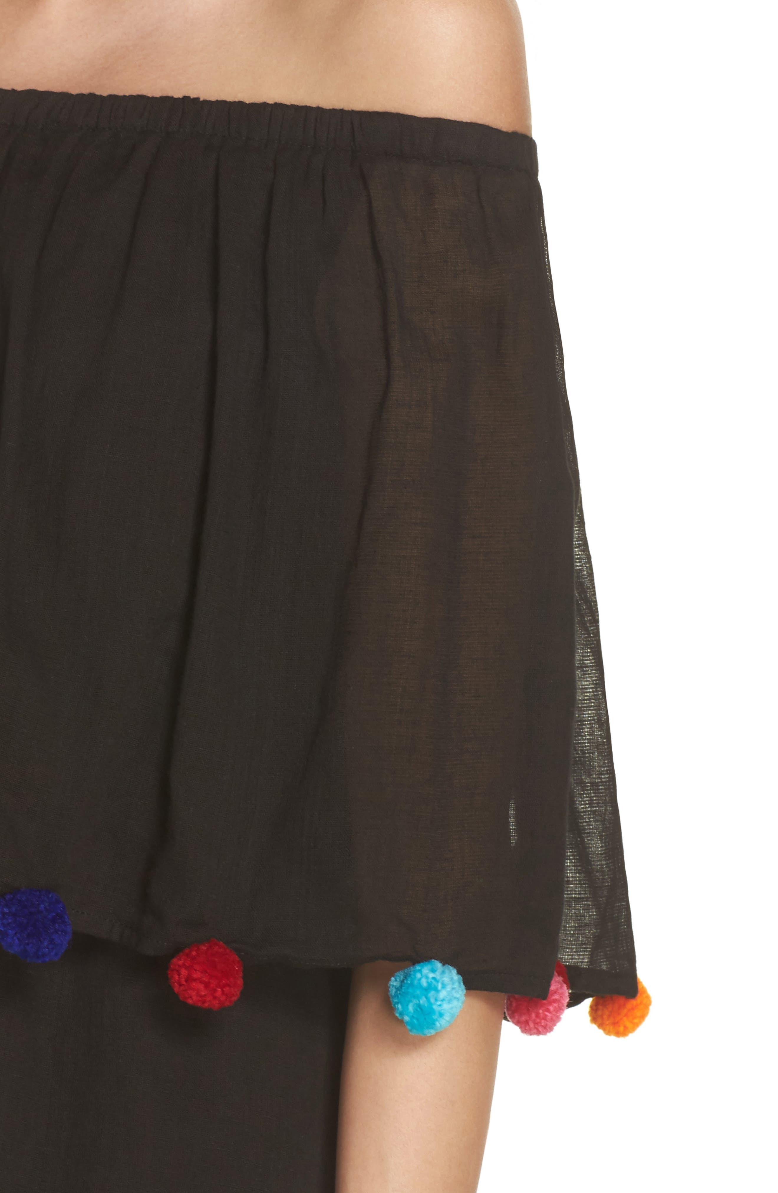 PomPom Festival Cover-Up Dress,                             Alternate thumbnail 4, color,                             Black