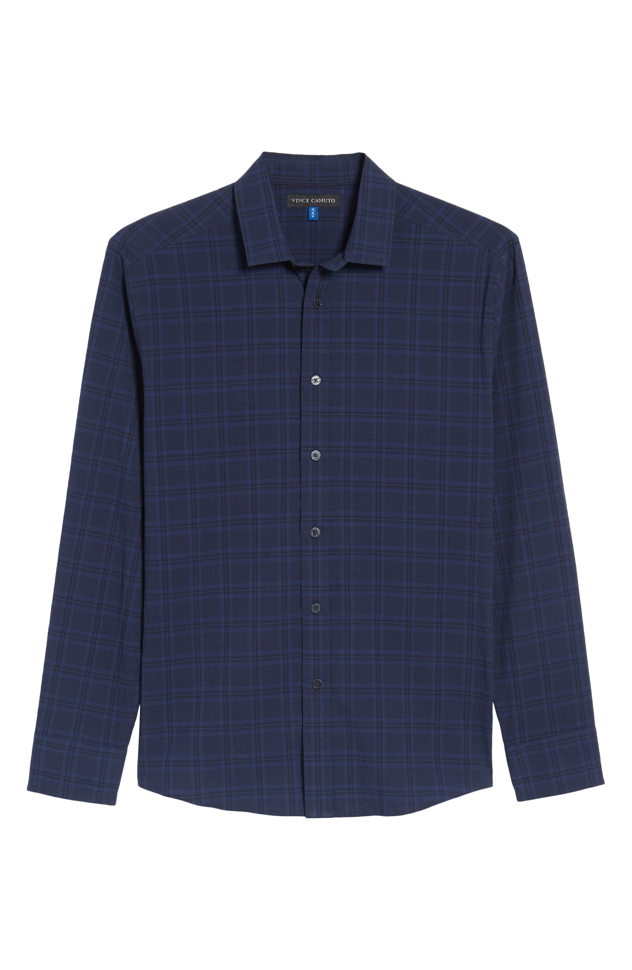 Slim Fit Plaid Stretch Sport Shirt,                             Alternate thumbnail 6, color,                             Navy Seersucker Plaid