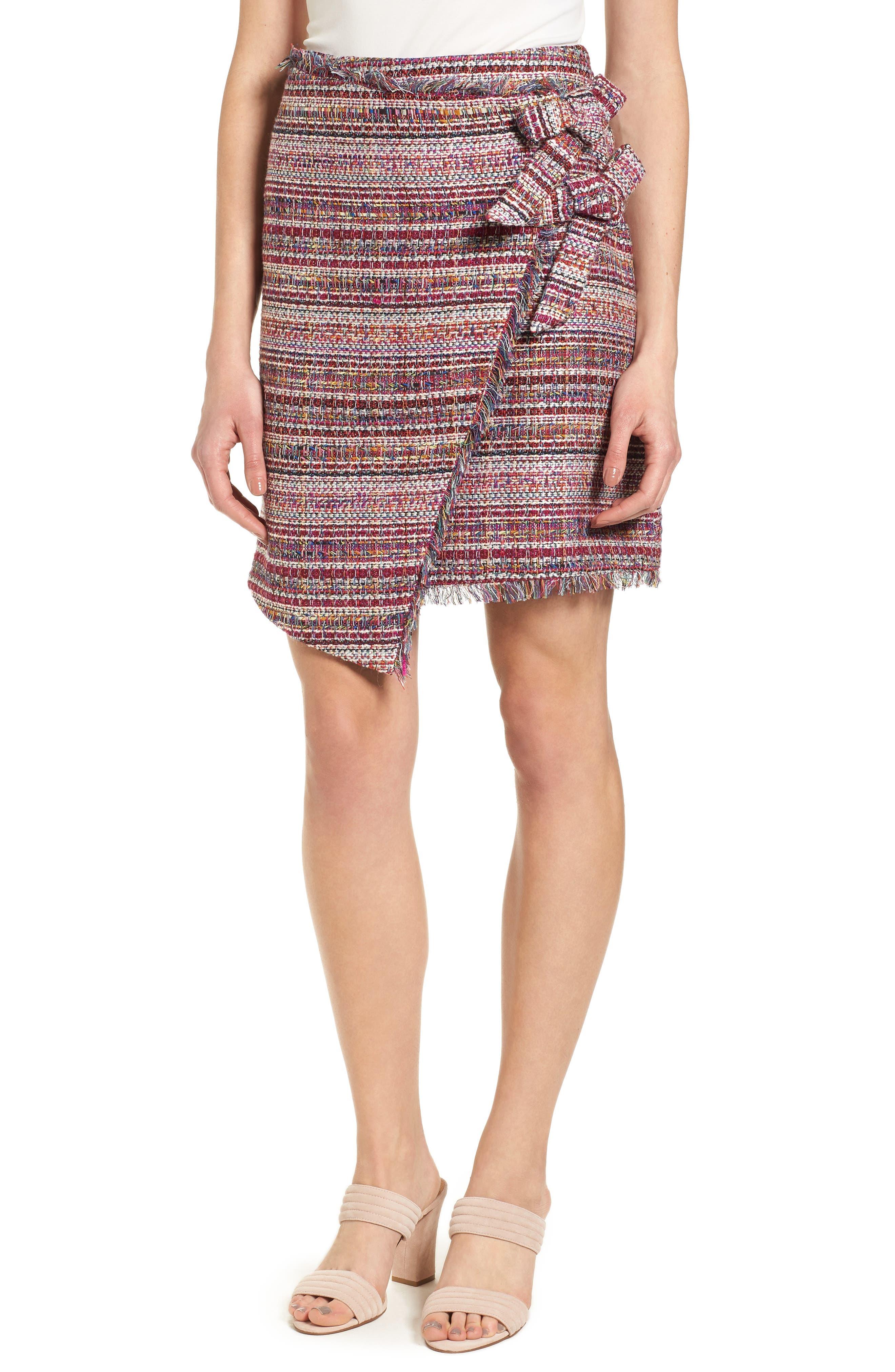 Halogen® Asymmetrical Grommet Tie Tweed Skirt (Regular & Petite)