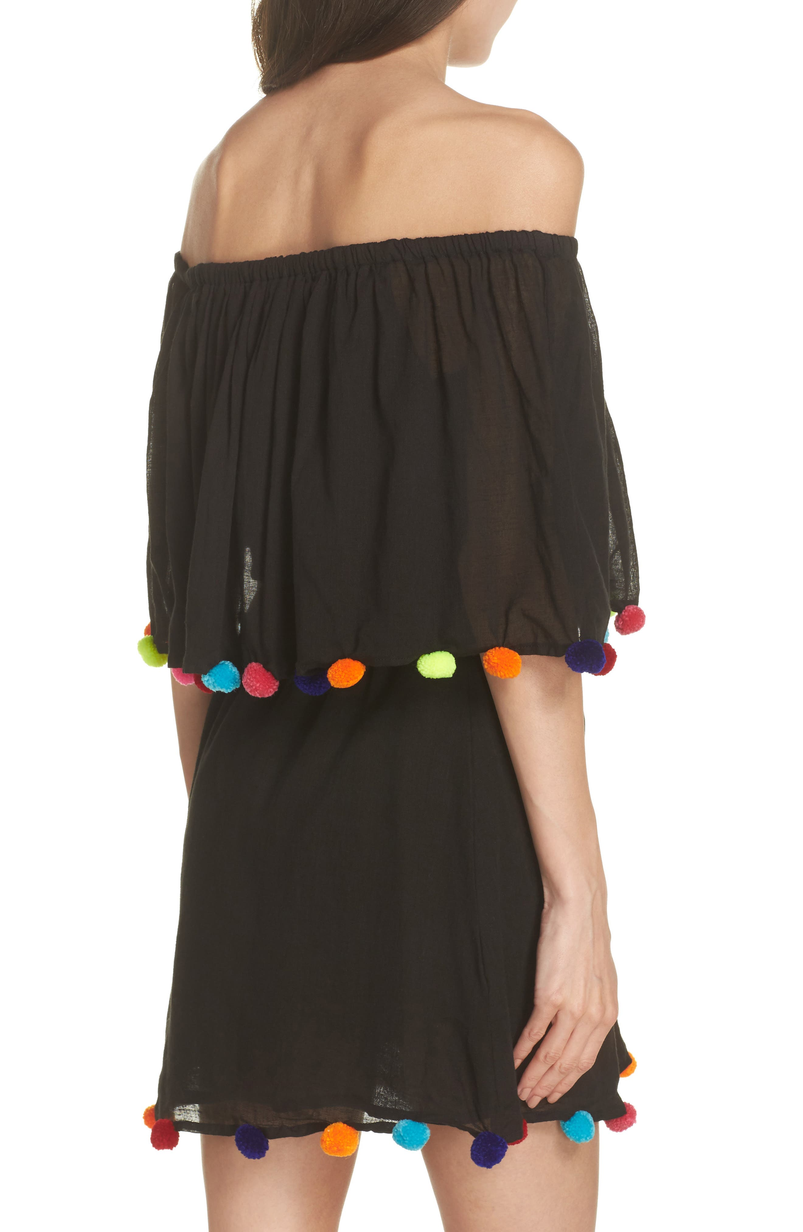 PomPom Festival Cover-Up Dress,                             Alternate thumbnail 2, color,                             Black