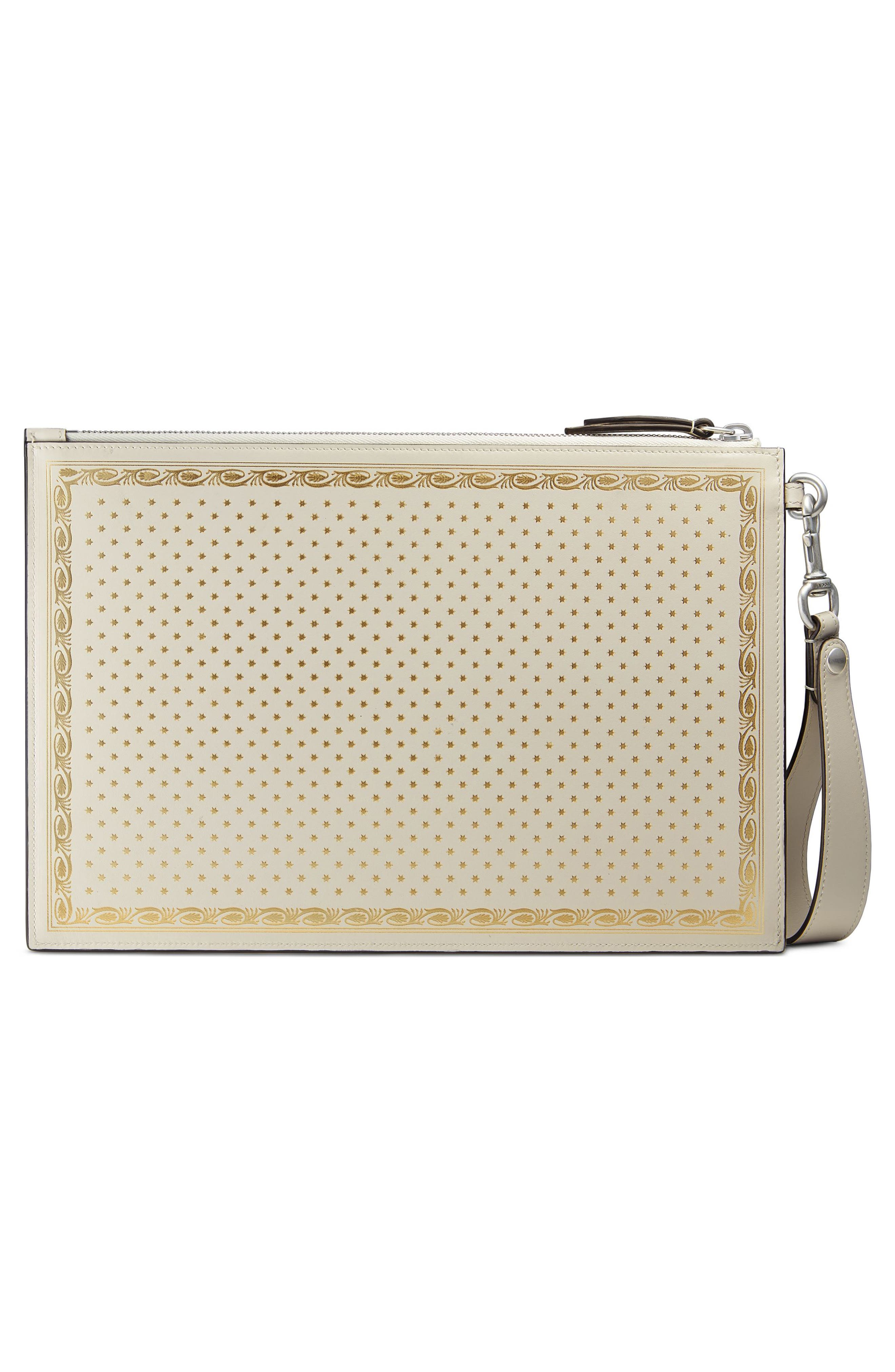 Guccy Moon & Stars Leather Zip Pouch,                             Alternate thumbnail 3, color,                             Mystic White/ Oro