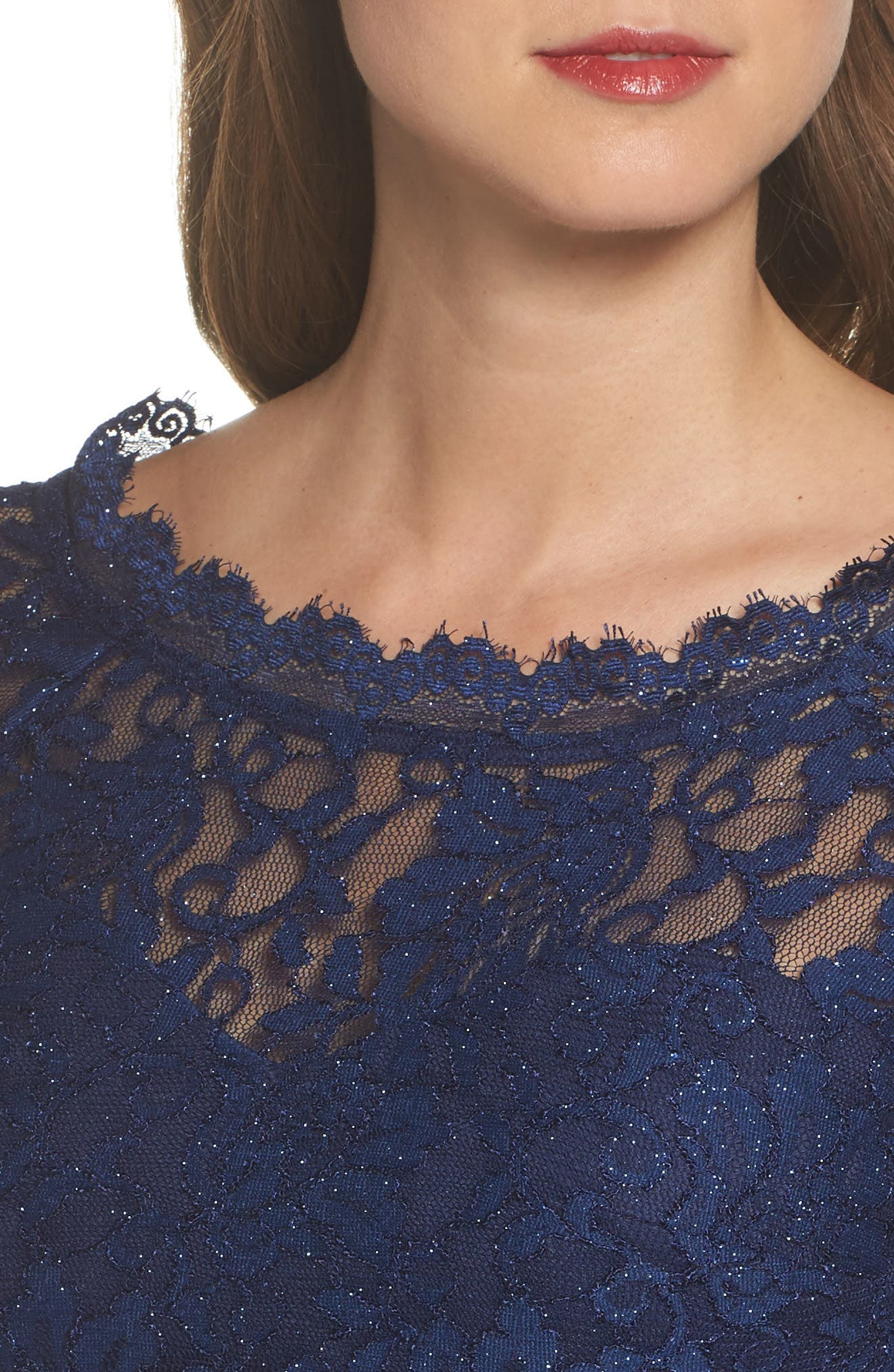 Glitter Lace Two-Piece Dress,                             Alternate thumbnail 4, color,                             Navy/ Violet