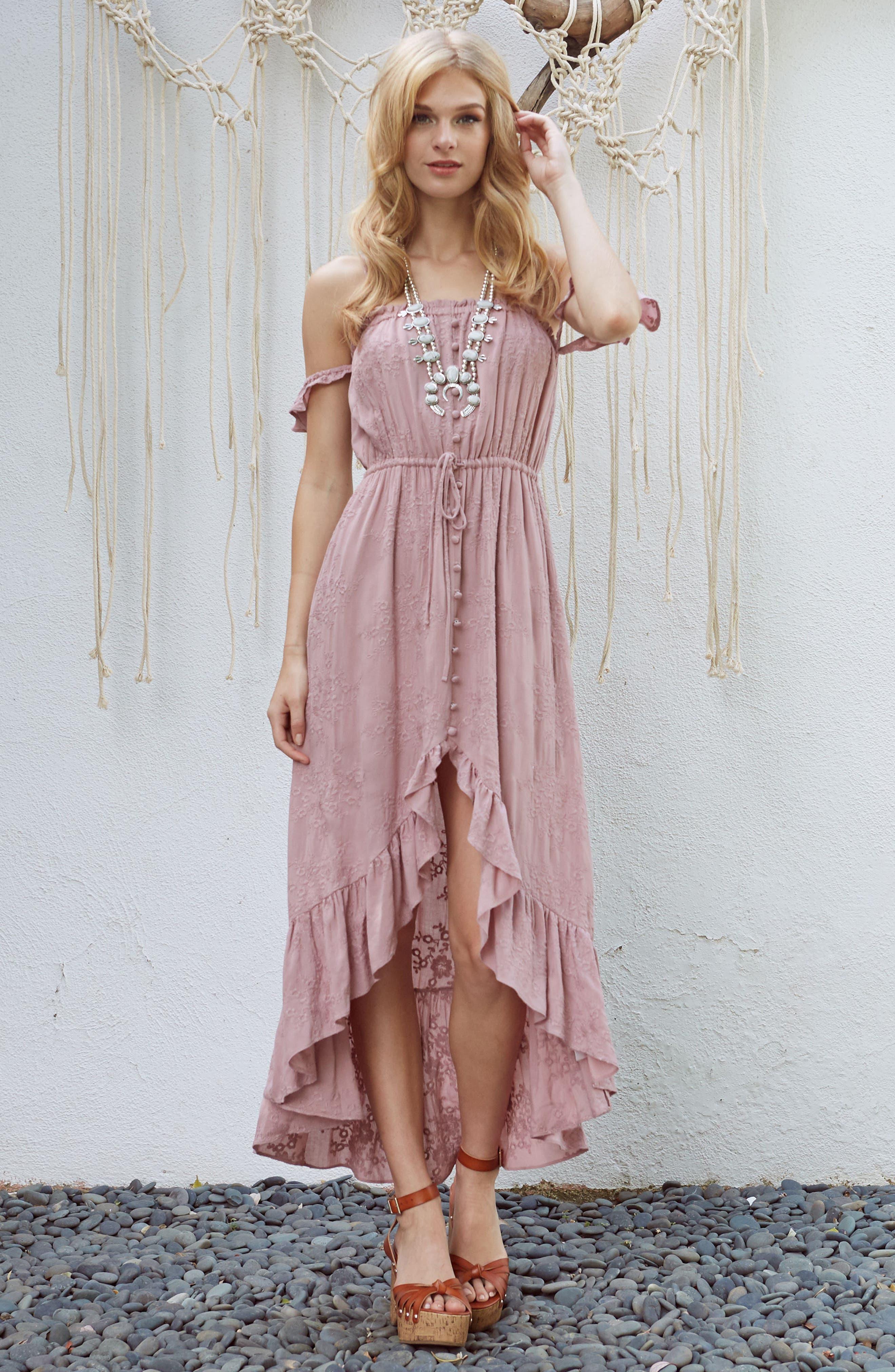 Rose Cold Shoulder High/Low Dress,                             Alternate thumbnail 2, color,                             Rosy Pink