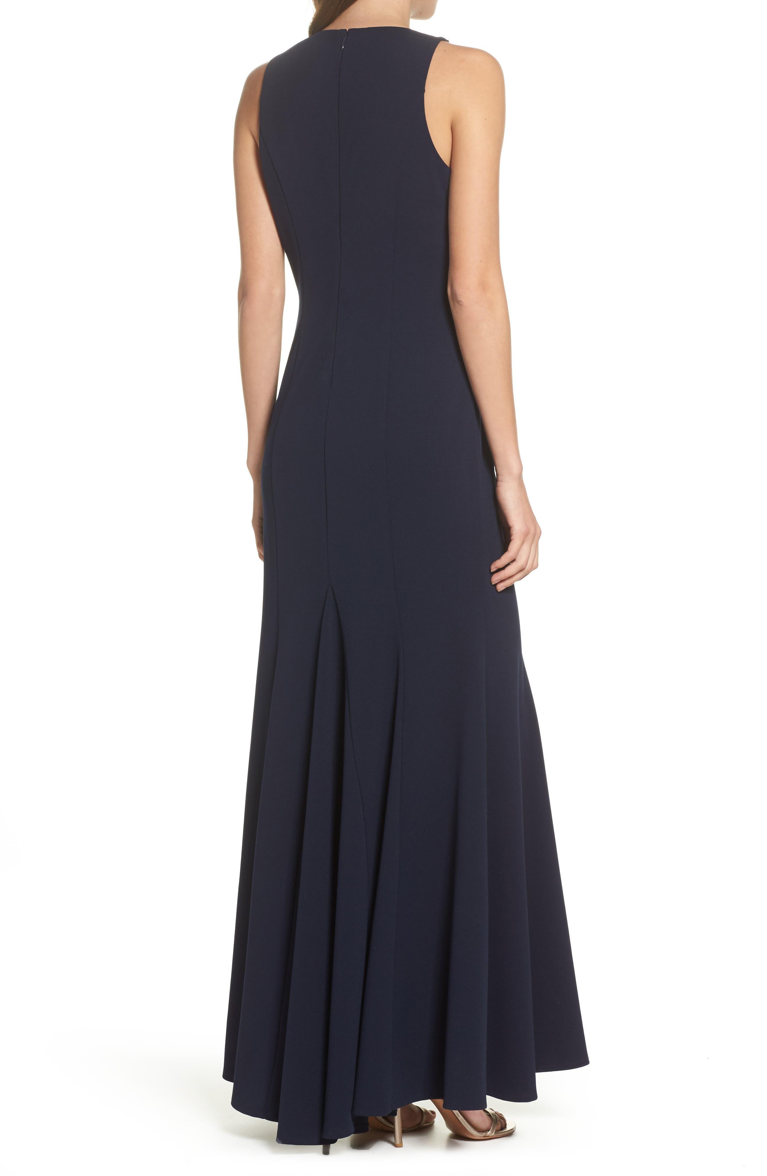 Sleeveless Scuba Crepe Gown,                             Alternate thumbnail 2, color,                             Navy