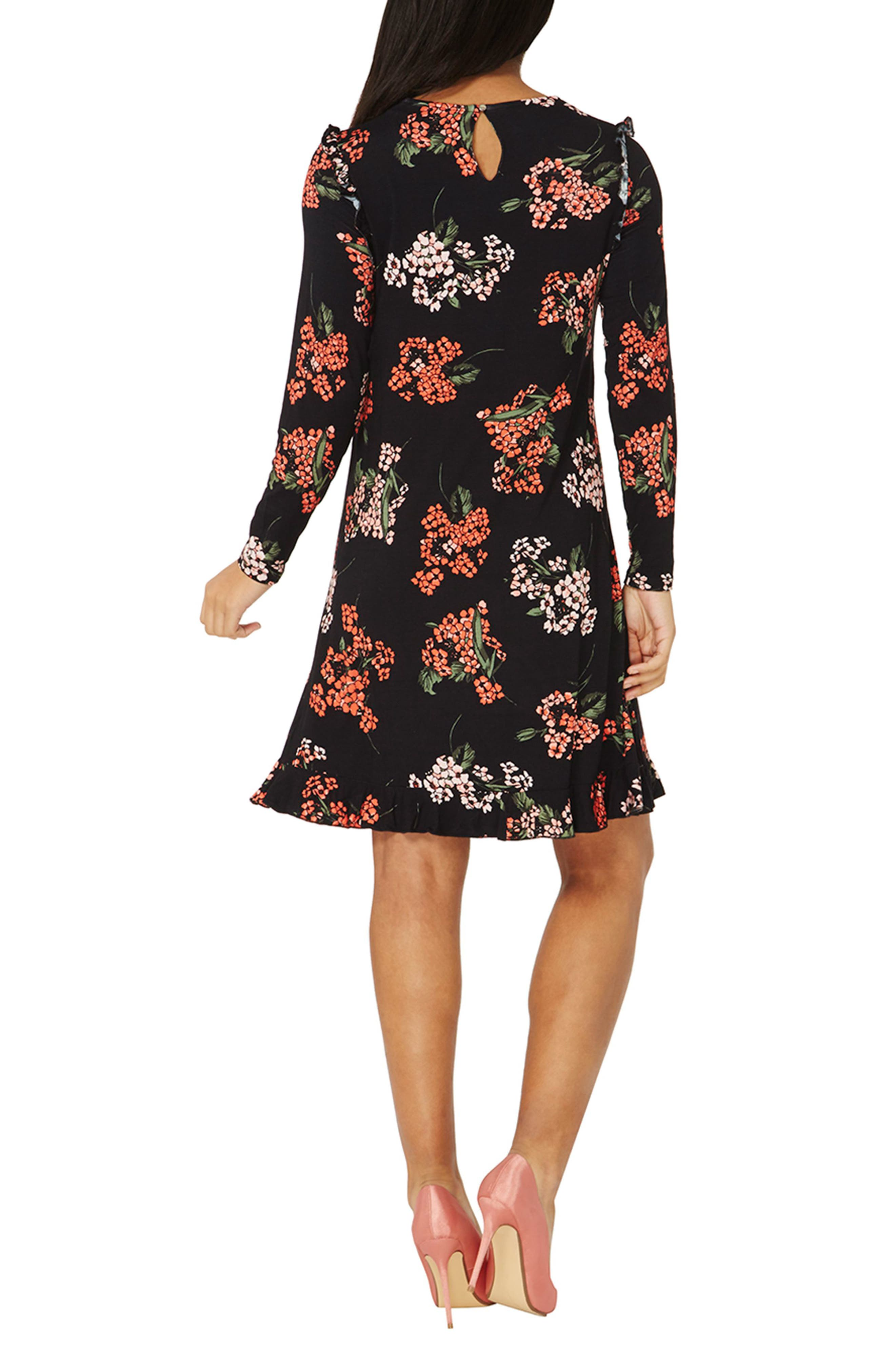 Floral Swing Dress,                             Alternate thumbnail 2, color,                             Black