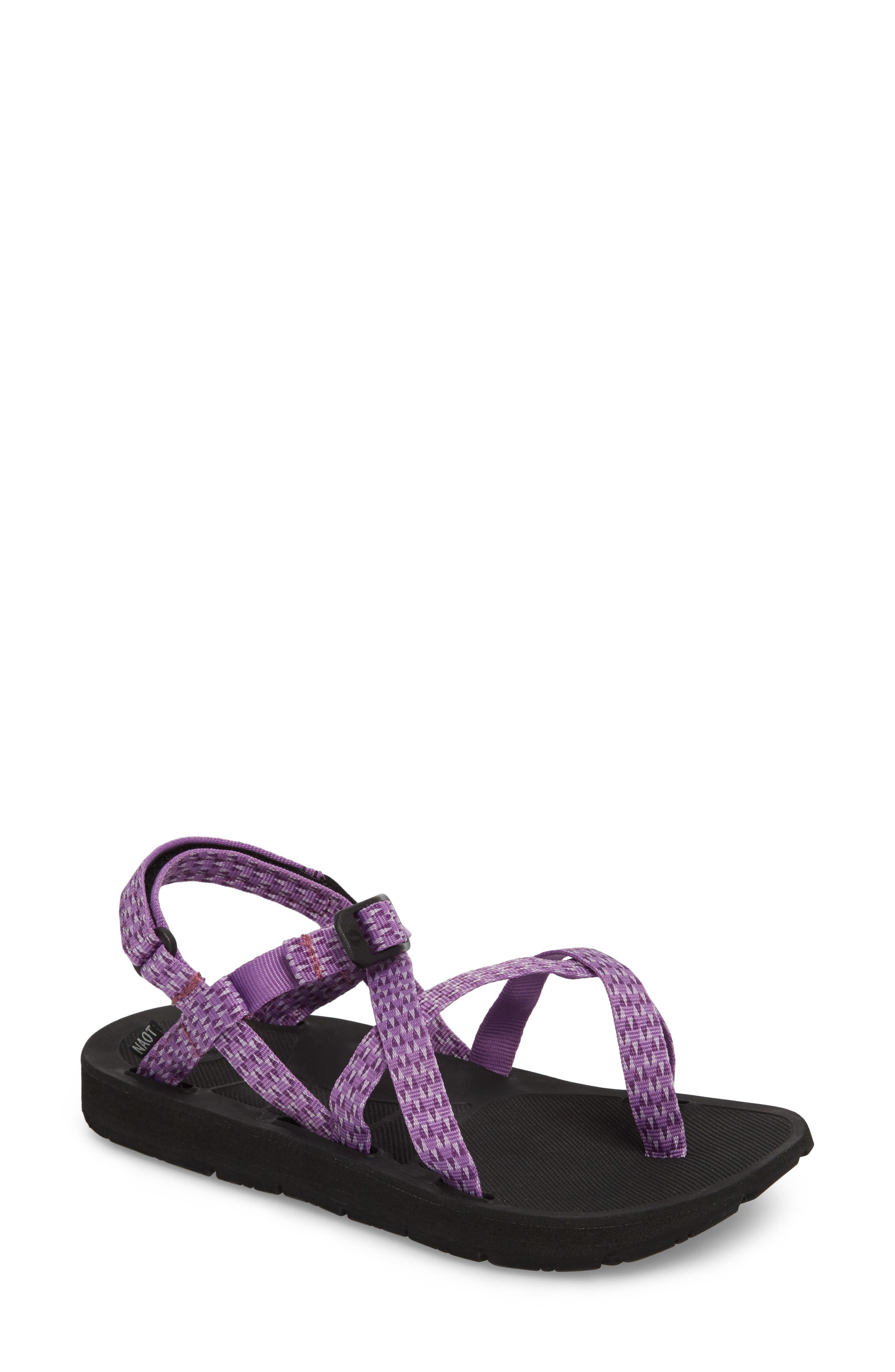 Shore Sandal,                             Main thumbnail 1, color,                             Purple Triangles Fabric