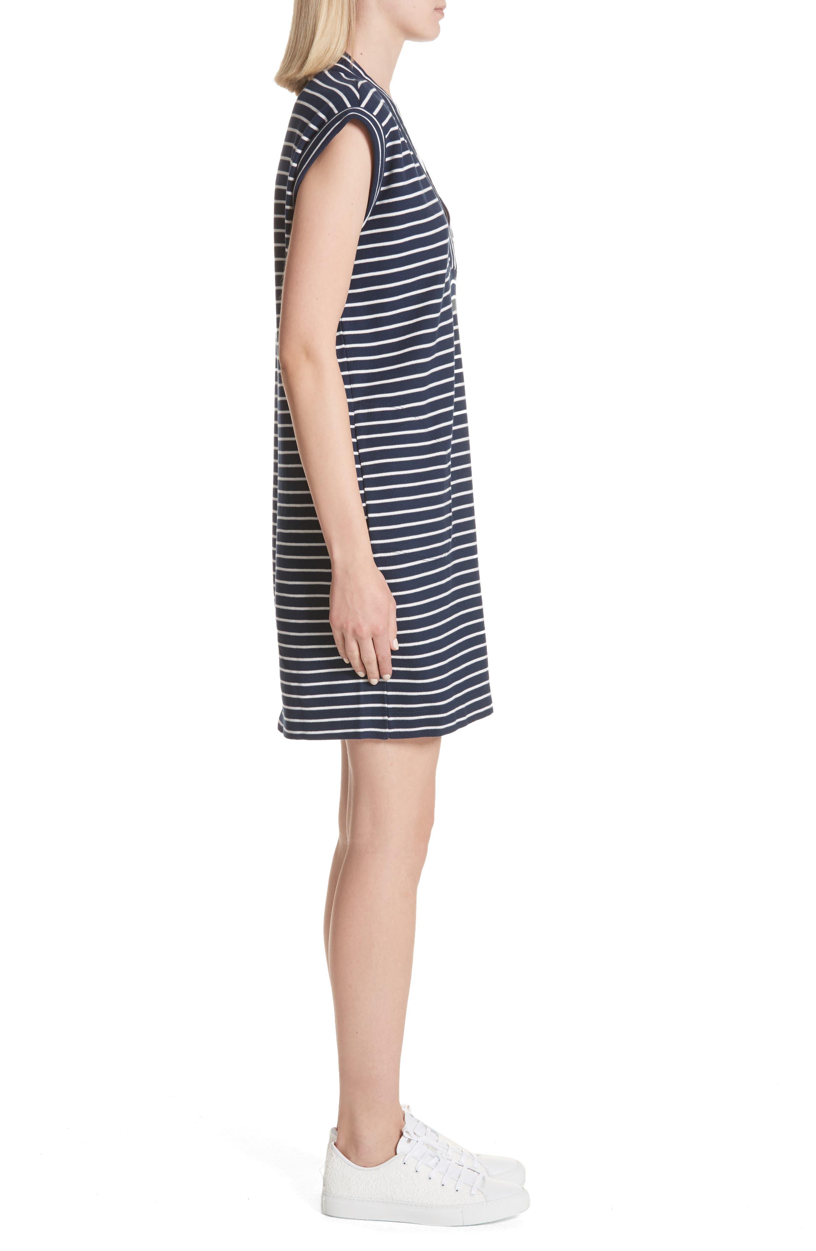 Stripe Shift Dress,                             Alternate thumbnail 3, color,                             Navy/ Chalk Stripe