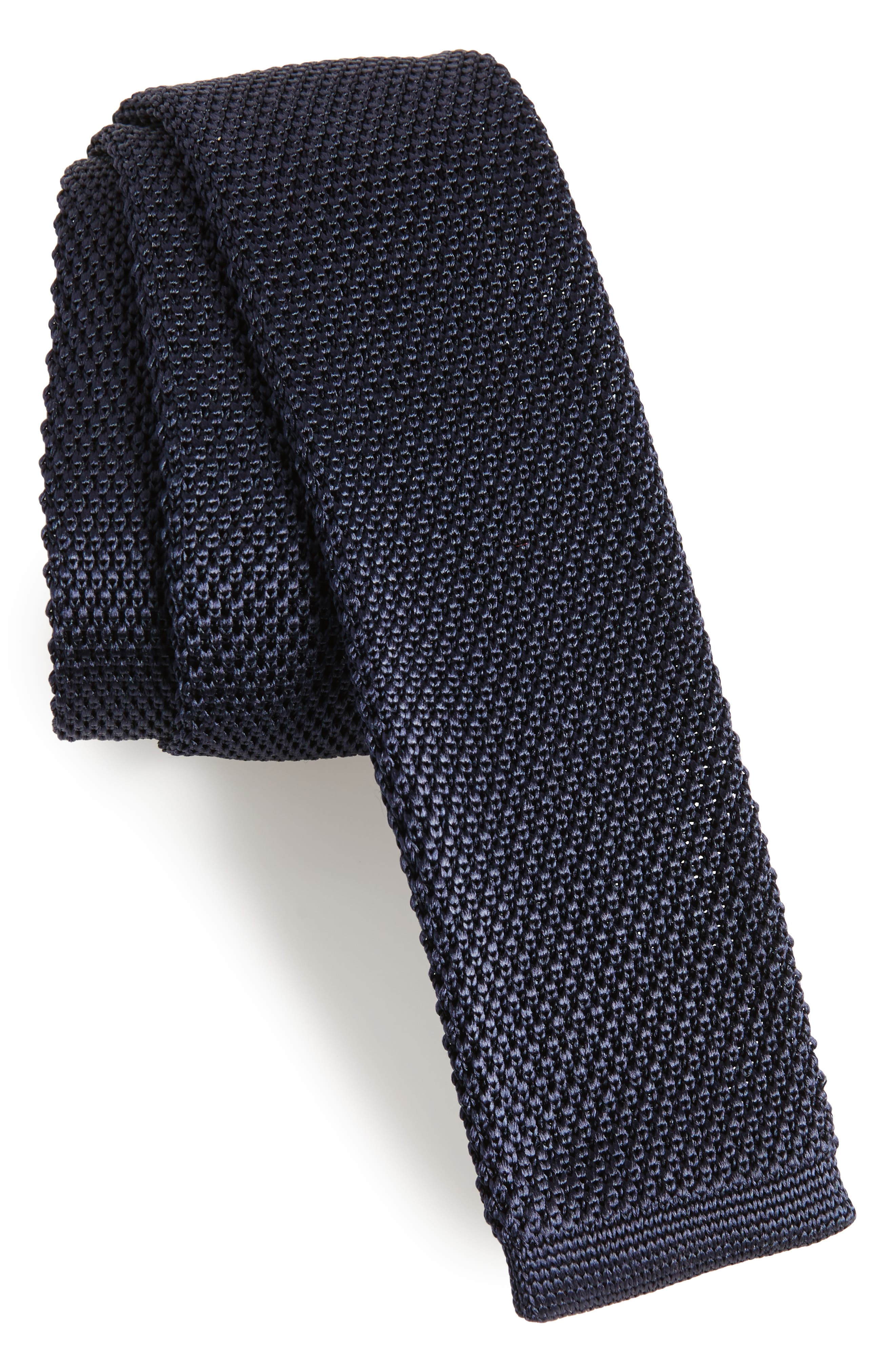 Solid Knit Silk Skinny Tie,                             Main thumbnail 1, color,                             Navy
