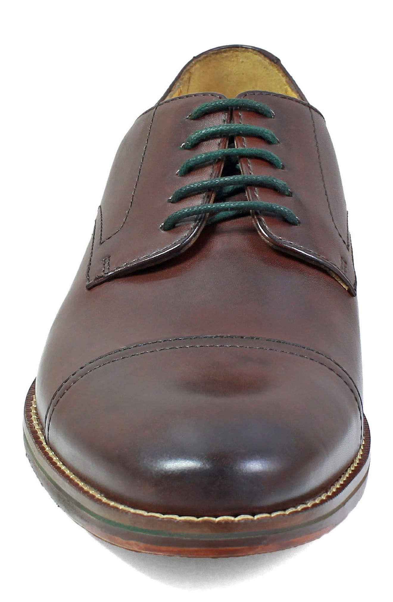 Salerno Cap Toe Derby,                             Alternate thumbnail 4, color,                             Brown Leather