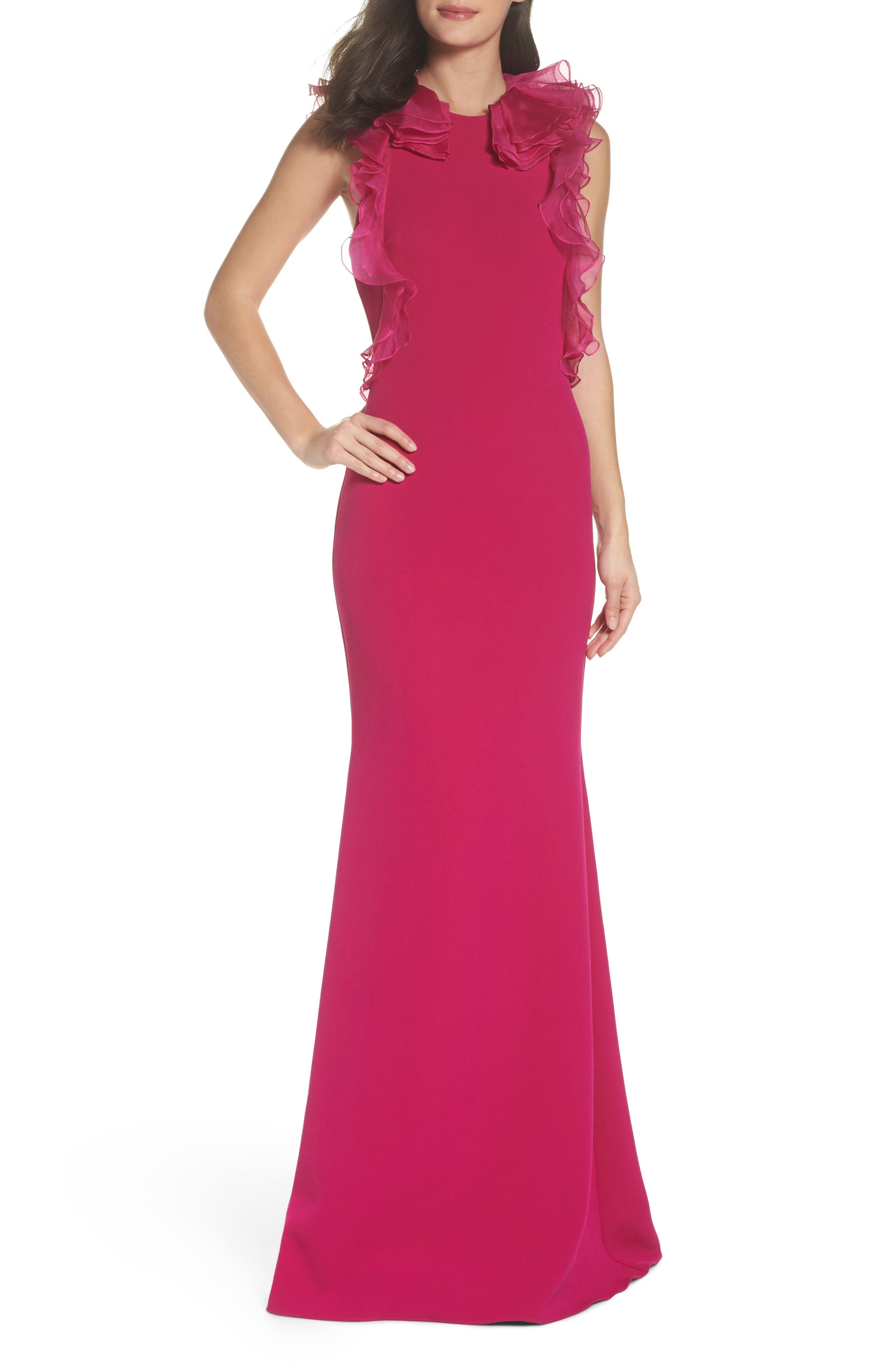 Badgley Mischka Ruffle Sleeve Trumpet Gown