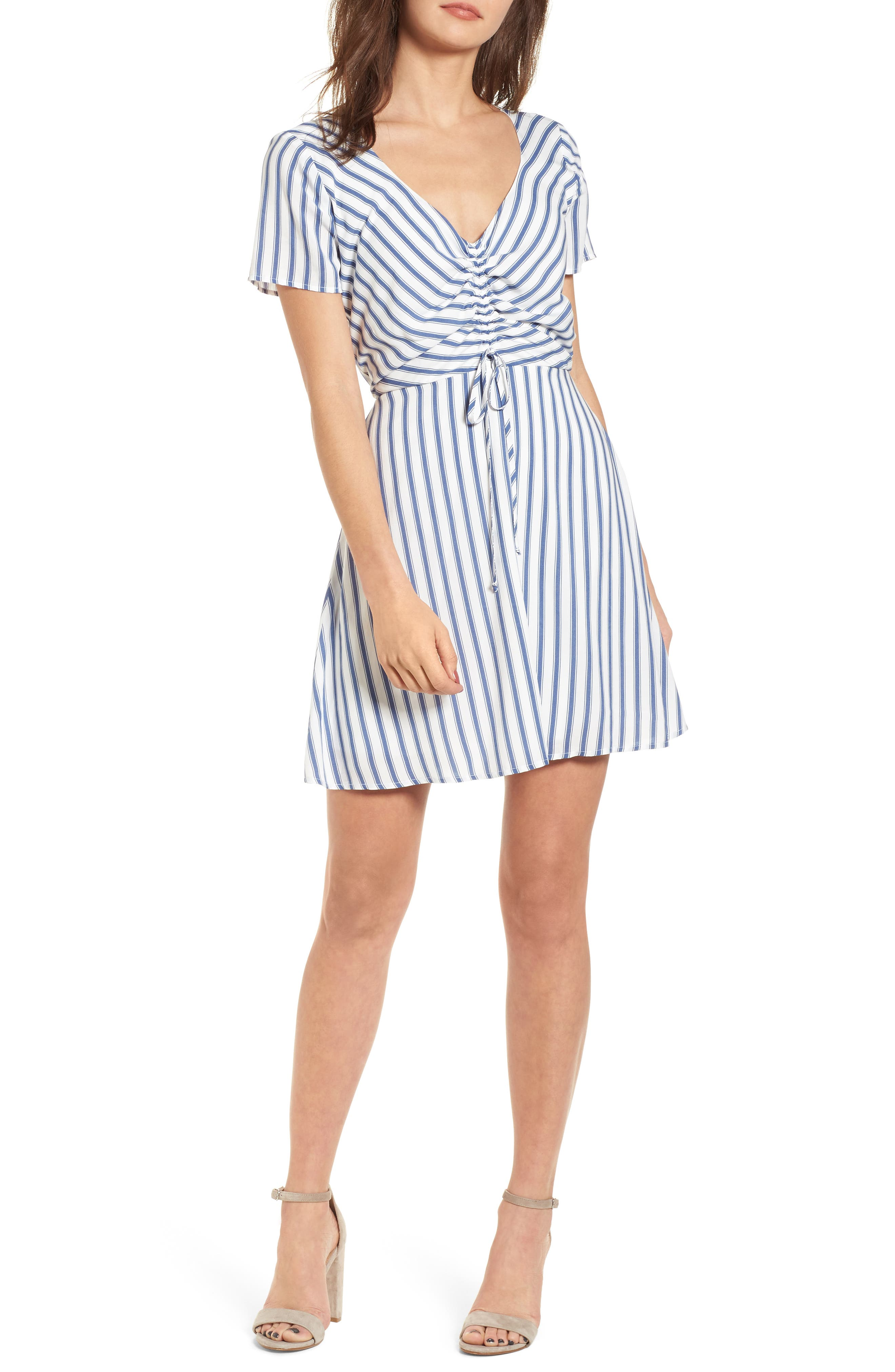 Cinch Front Minidress,                             Main thumbnail 1, color,                             Blue/ White Stripe