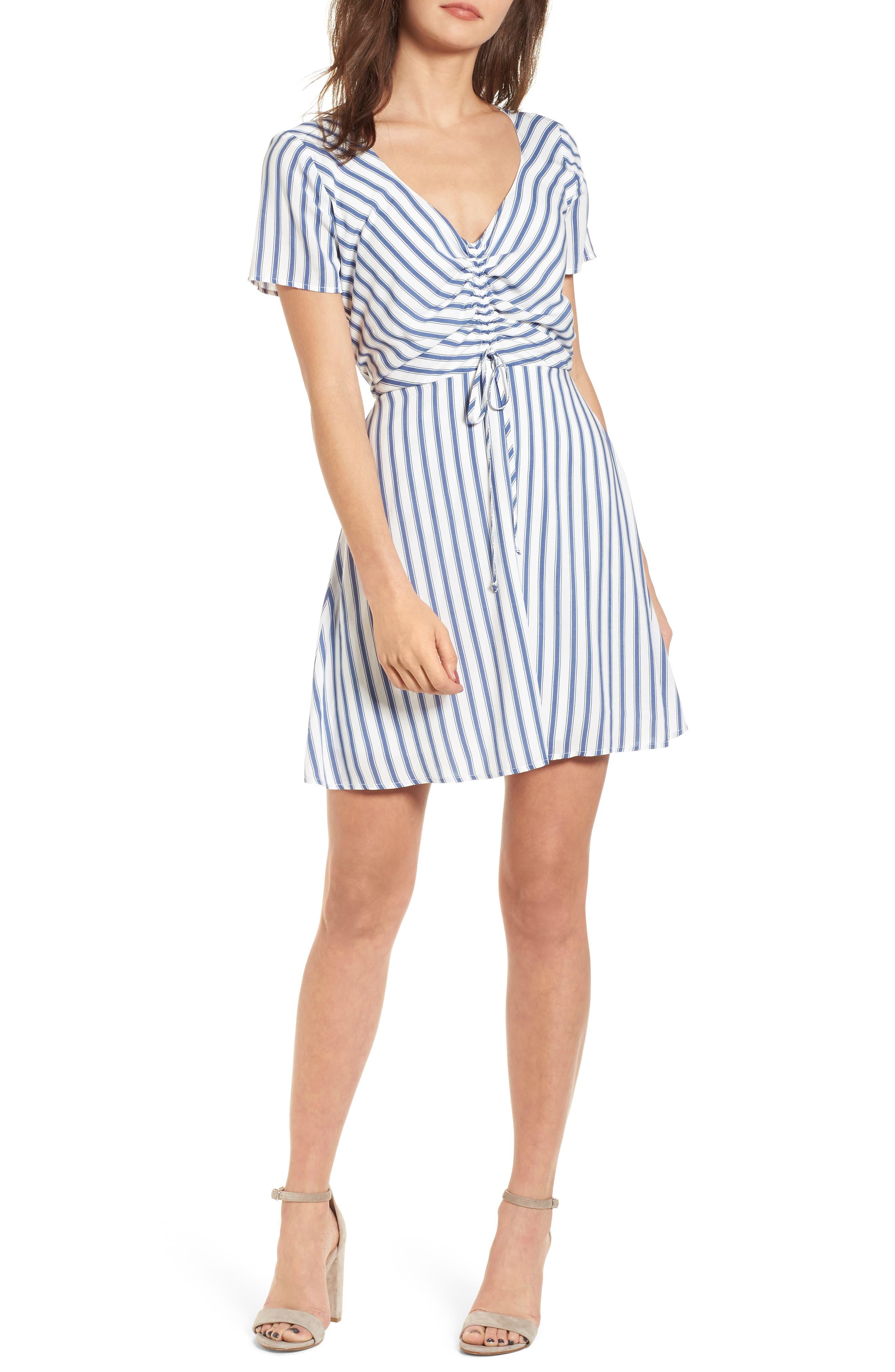 Cinch Front Minidress,                         Main,                         color, Blue/ White Stripe