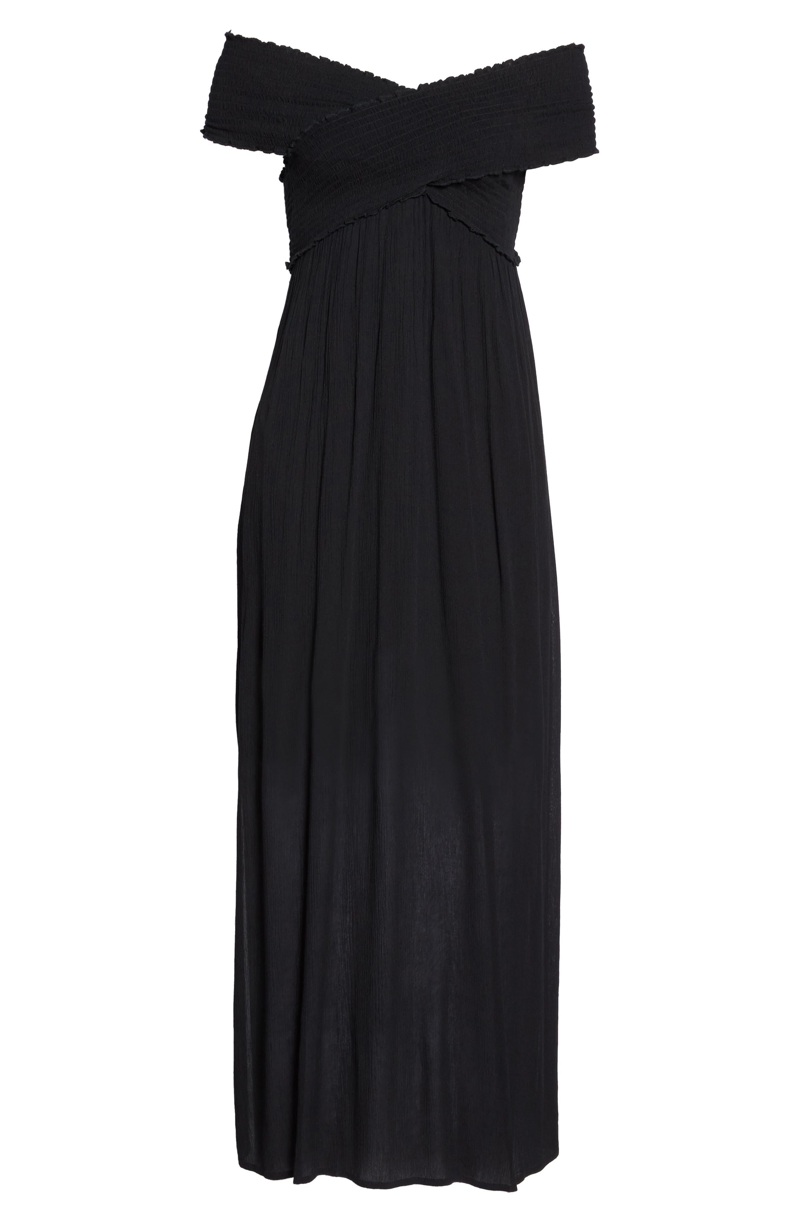Smocked Off-the-Shoulder Cover-Up Maxi Dress,                             Alternate thumbnail 6, color,                             Black