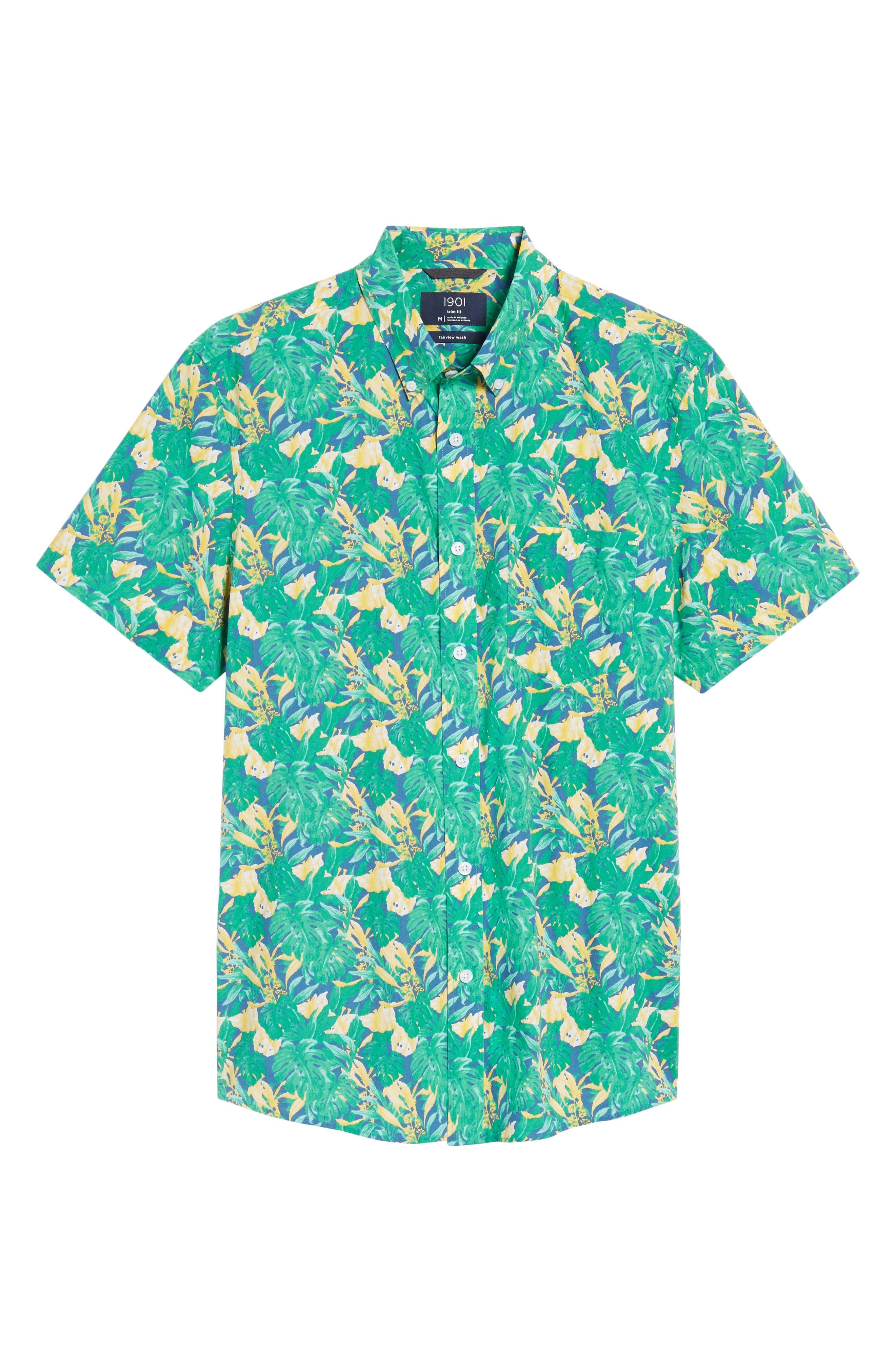 Trim Fit Leaf Print Sport Shirt,                             Alternate thumbnail 6, color,                             Green Yellow Split Leaves