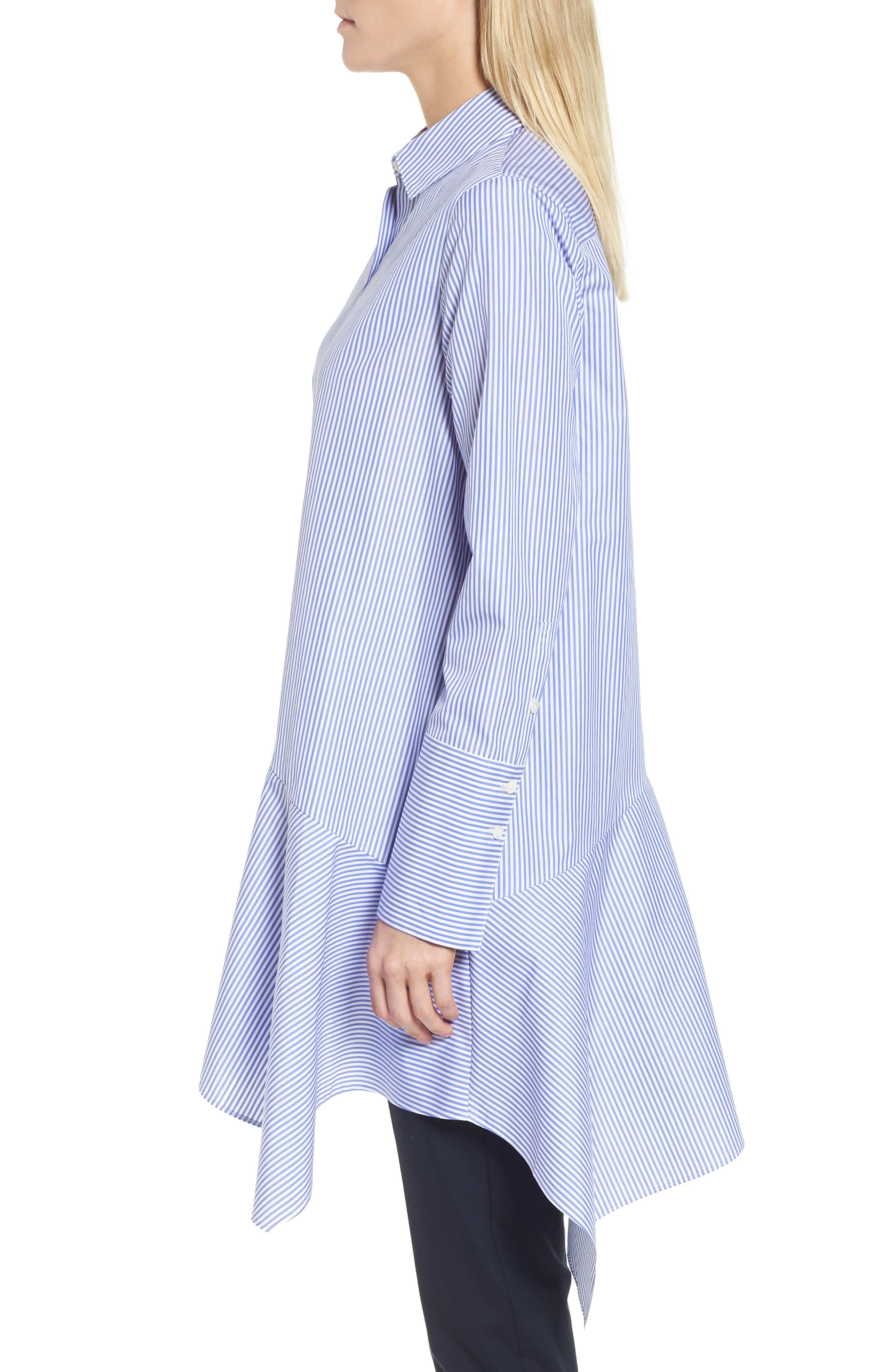 Asymmetrical Stripe Shirt,                             Alternate thumbnail 3, color,                             Blue Denim Stripe