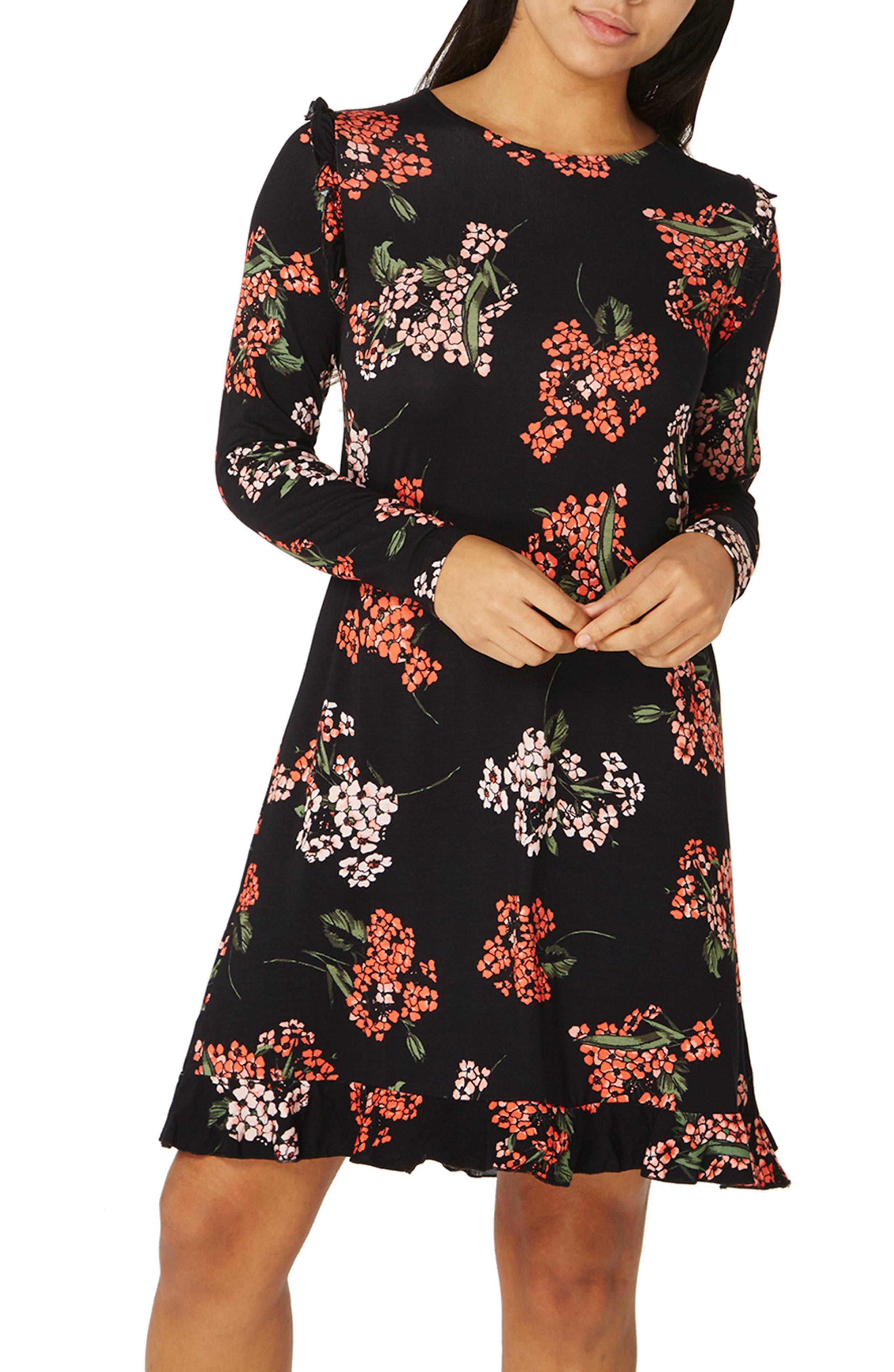 Floral Swing Dress,                             Alternate thumbnail 4, color,                             Black