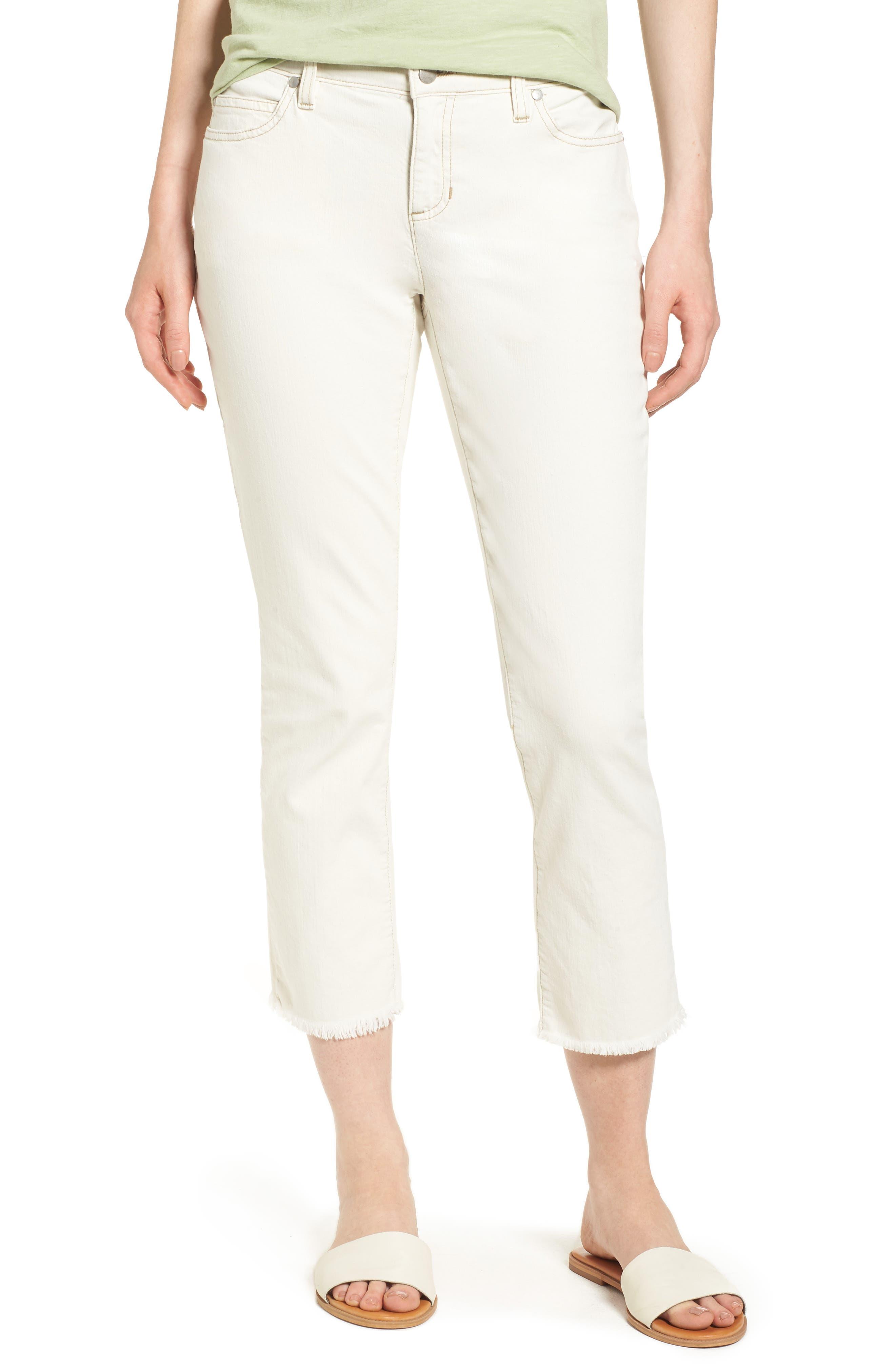 Eileen Fisher Fray Hem Boyfriend Jeans (Unnatural) (Regular & Petite)