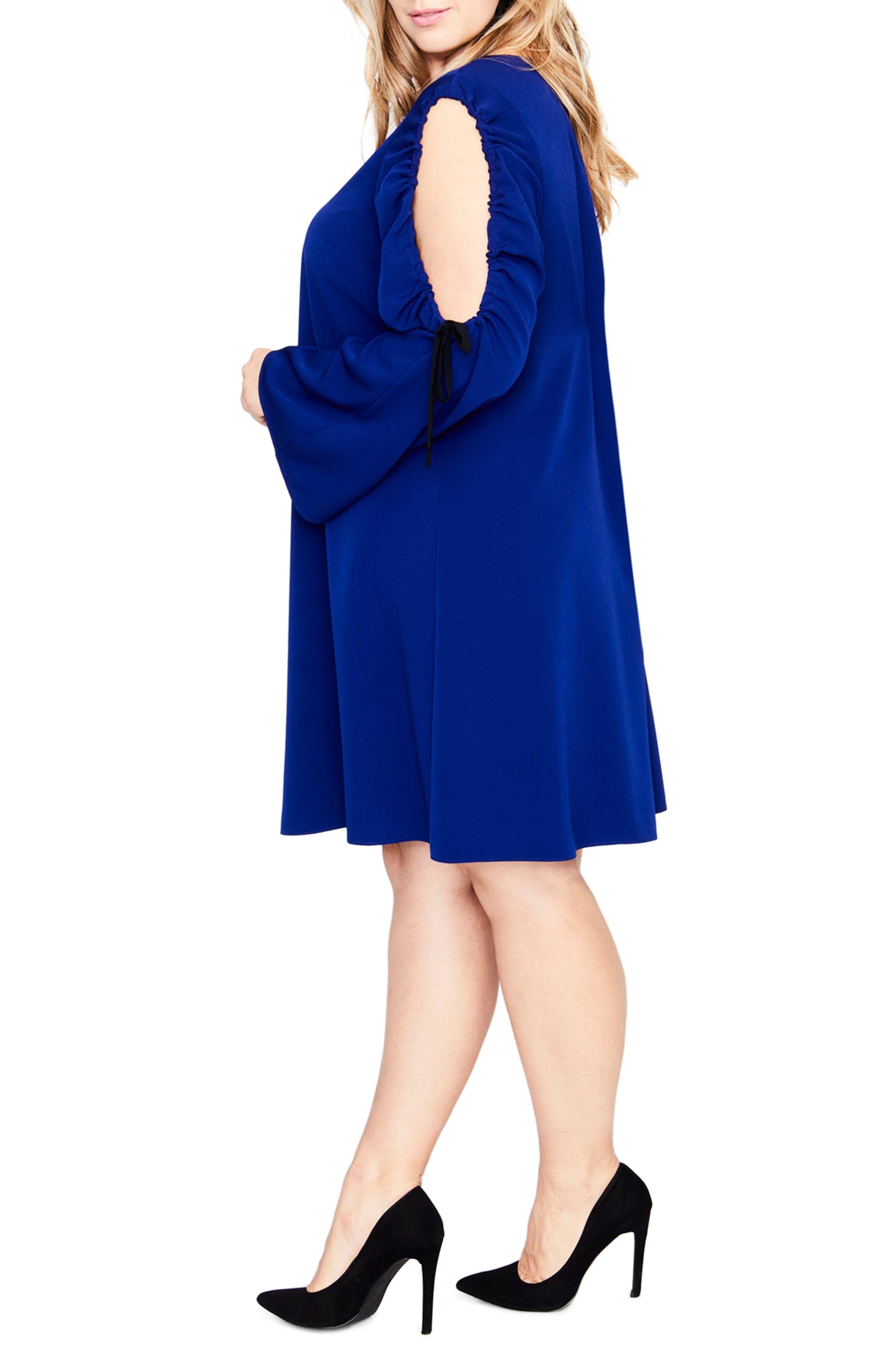 Split Tie Sleeve Shift Dress,                             Alternate thumbnail 3, color,                             Blue Violet