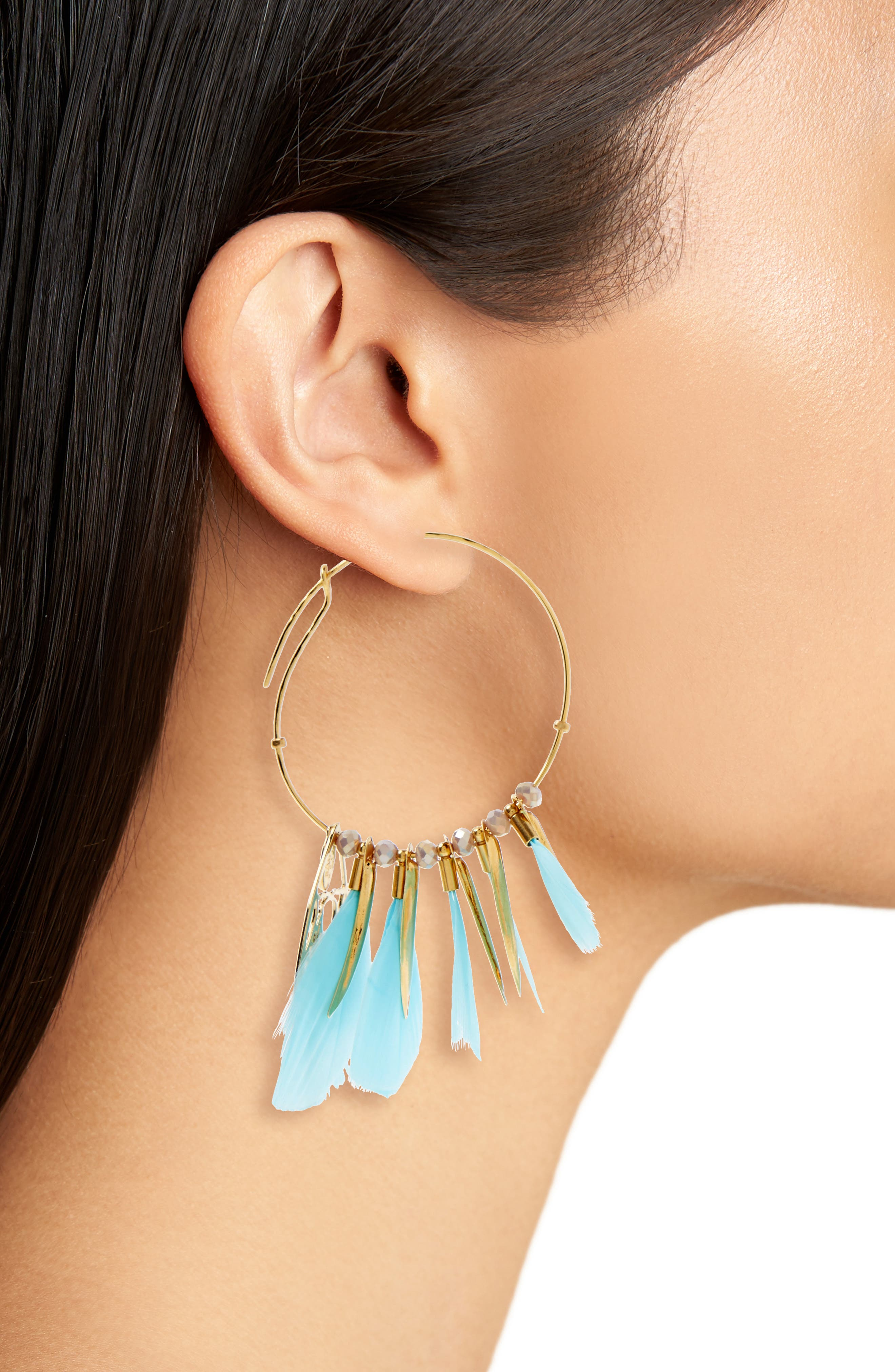 Marly Feather Drop Earrings,                             Alternate thumbnail 2, color,                             Green Turquoise