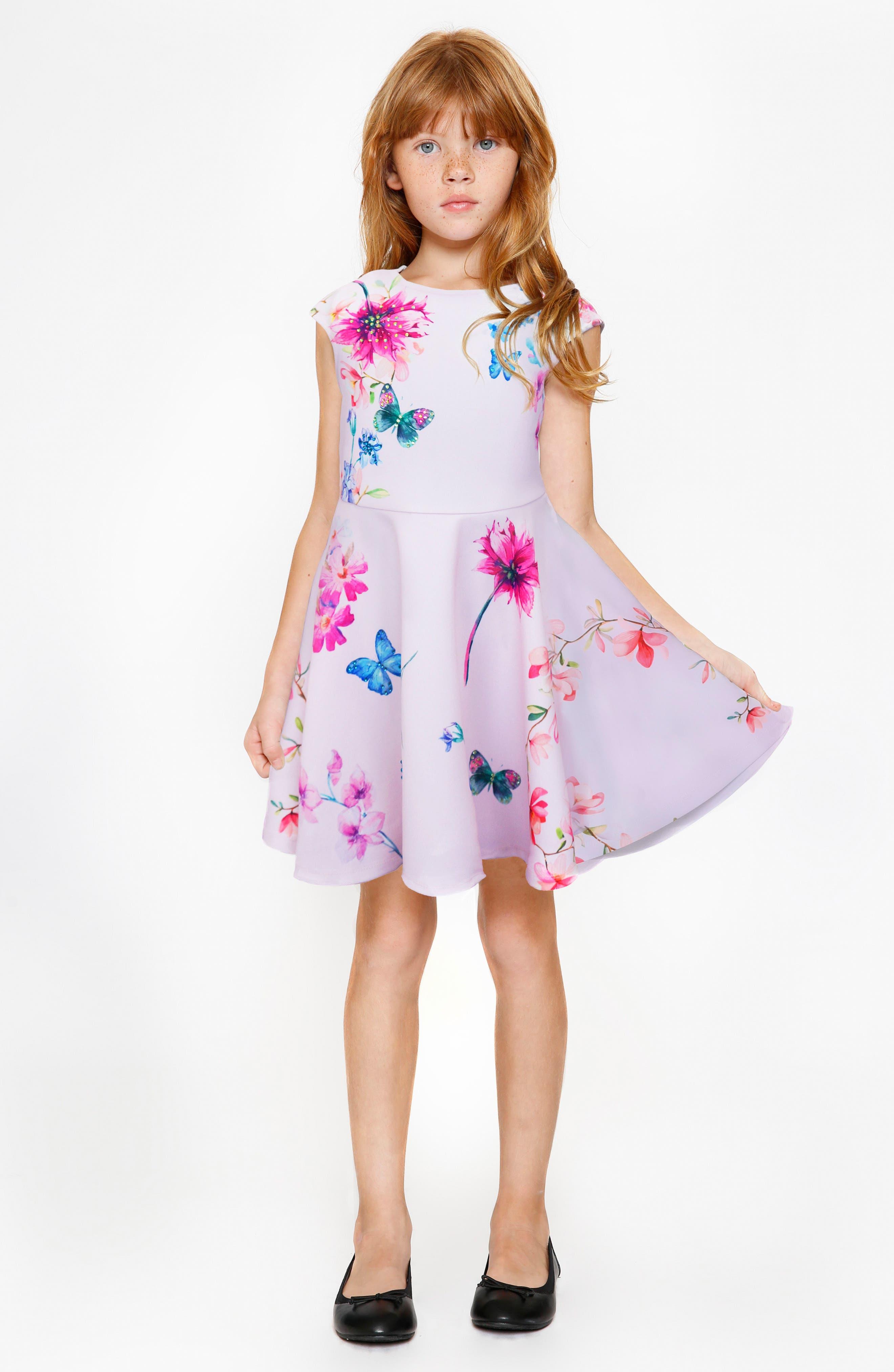 Floral Skater Dress,                             Alternate thumbnail 4, color,                             Pink