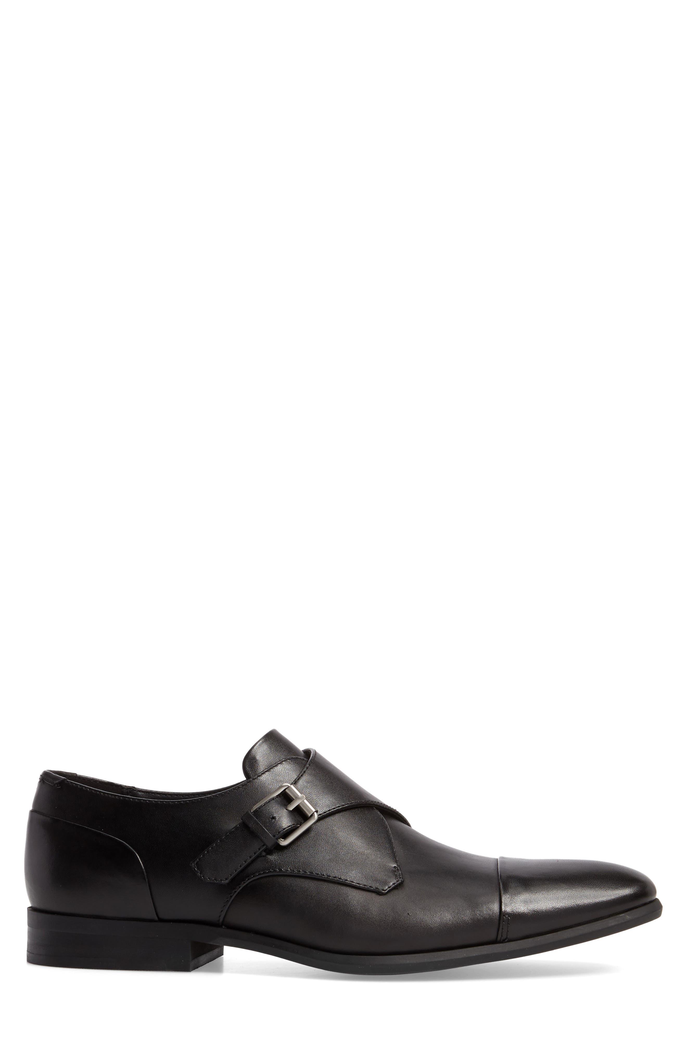Lucus Monk Strap Shoe,                             Alternate thumbnail 3, color,                             Black Leather