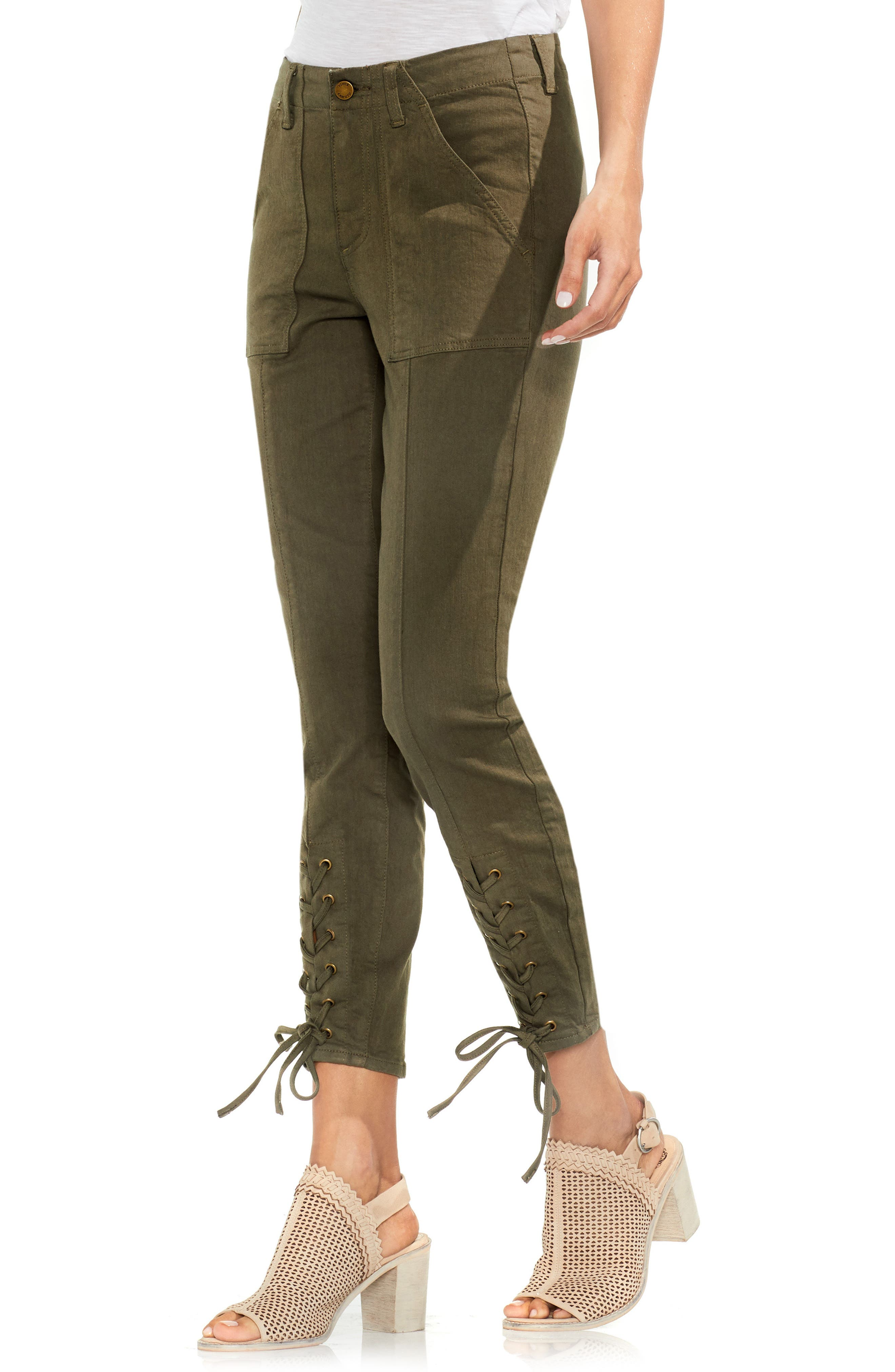 Lace-Up Cuff D-Luxe Pants,                         Main,                         color, Legion Green