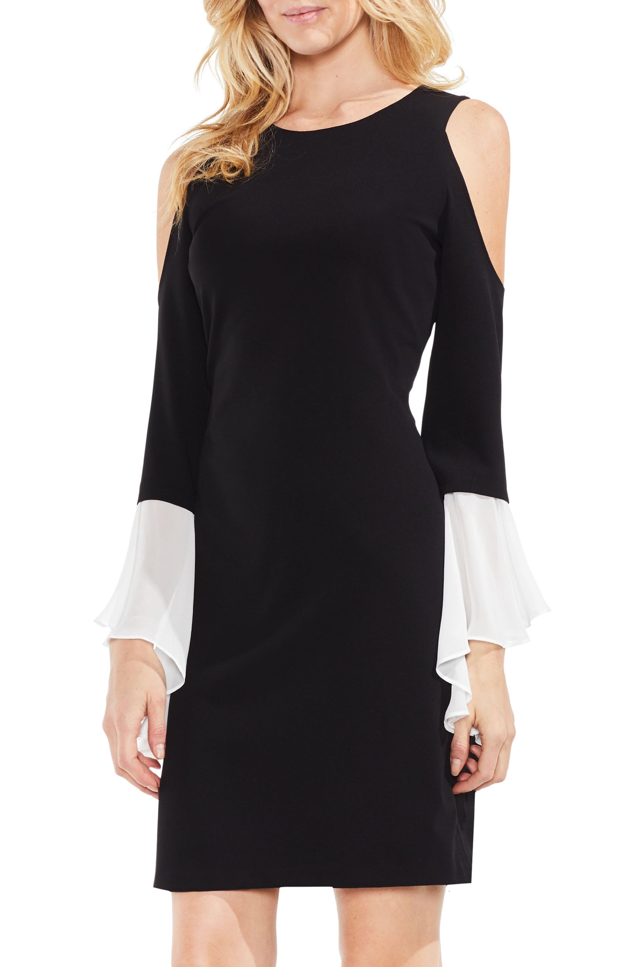 Cold Shoulder Bell Sleeve Ponte Dress,                         Main,                         color, Rich Black
