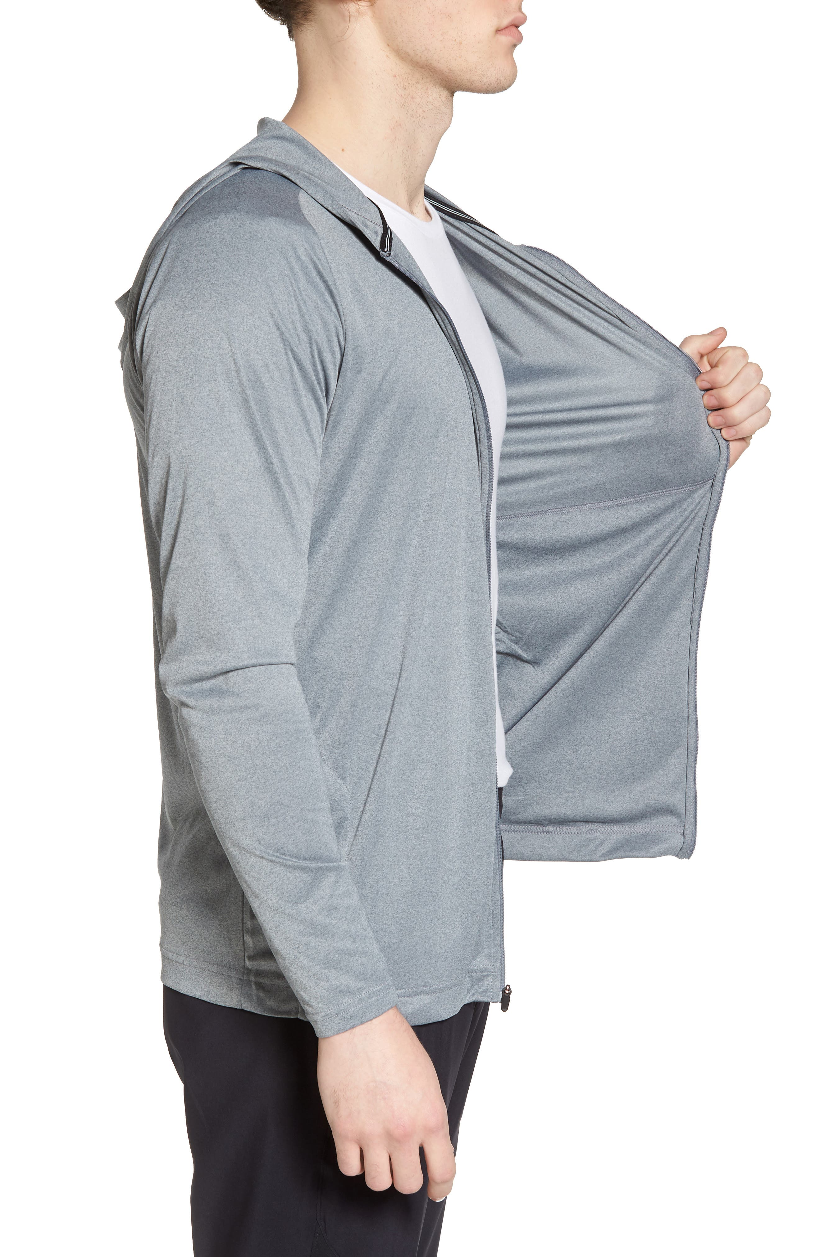 Icon Quick Dry Zip Hoodie,                             Alternate thumbnail 3, color,                             Cool Grey Htr