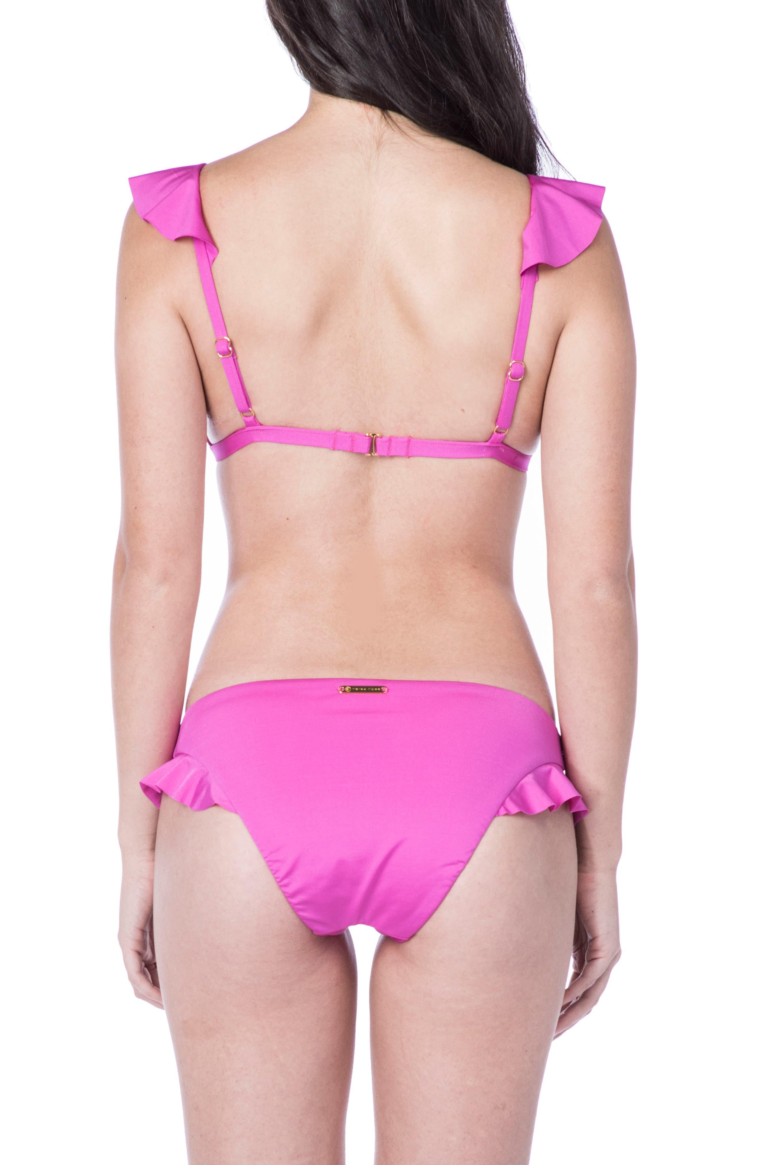 Key Solids Hipster Bikini Bottoms,                             Alternate thumbnail 4, color,                             Shocking Pink