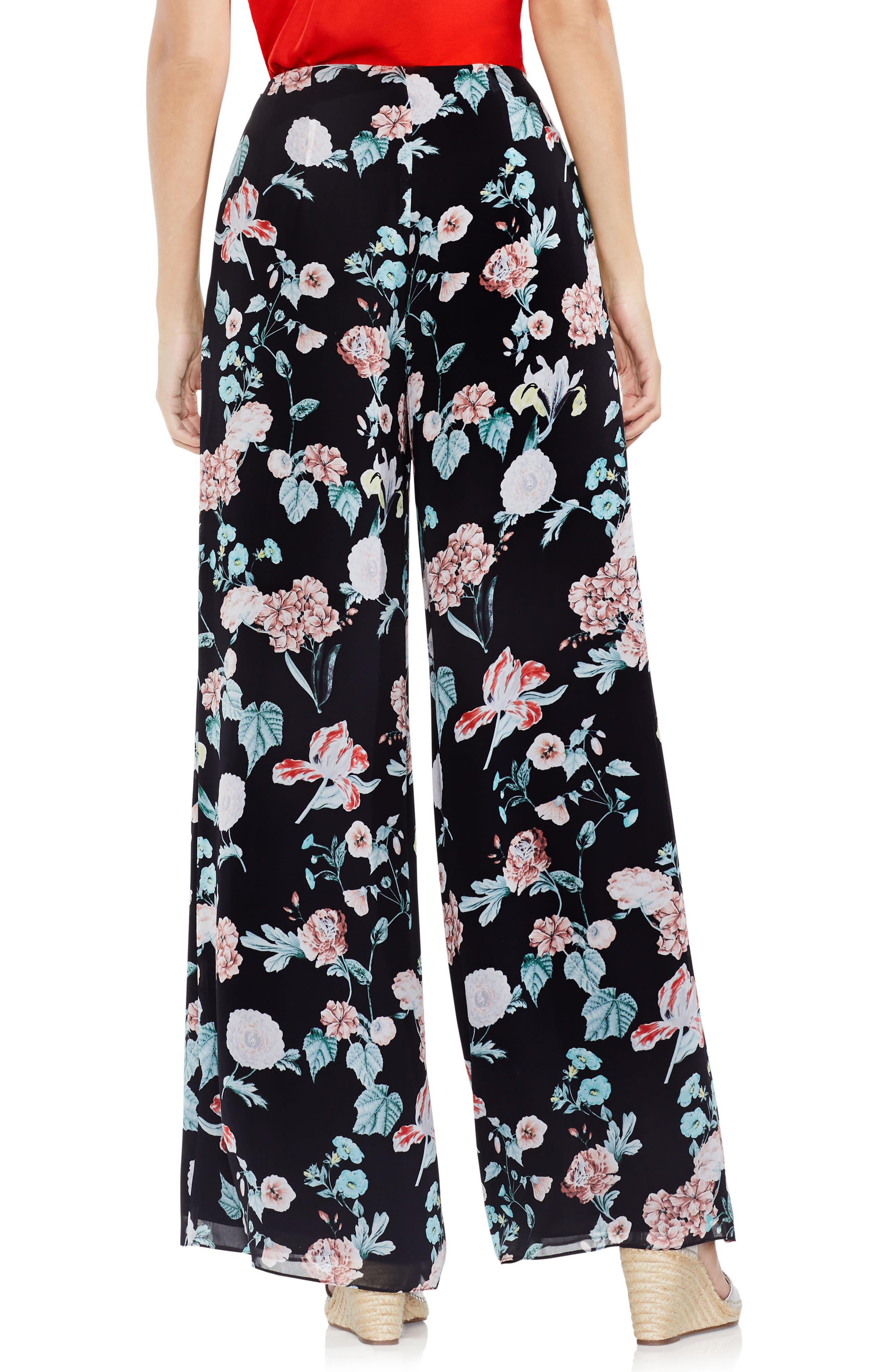 Floral Gardens Wide Leg Pants,                             Alternate thumbnail 3, color,                             Rich Black