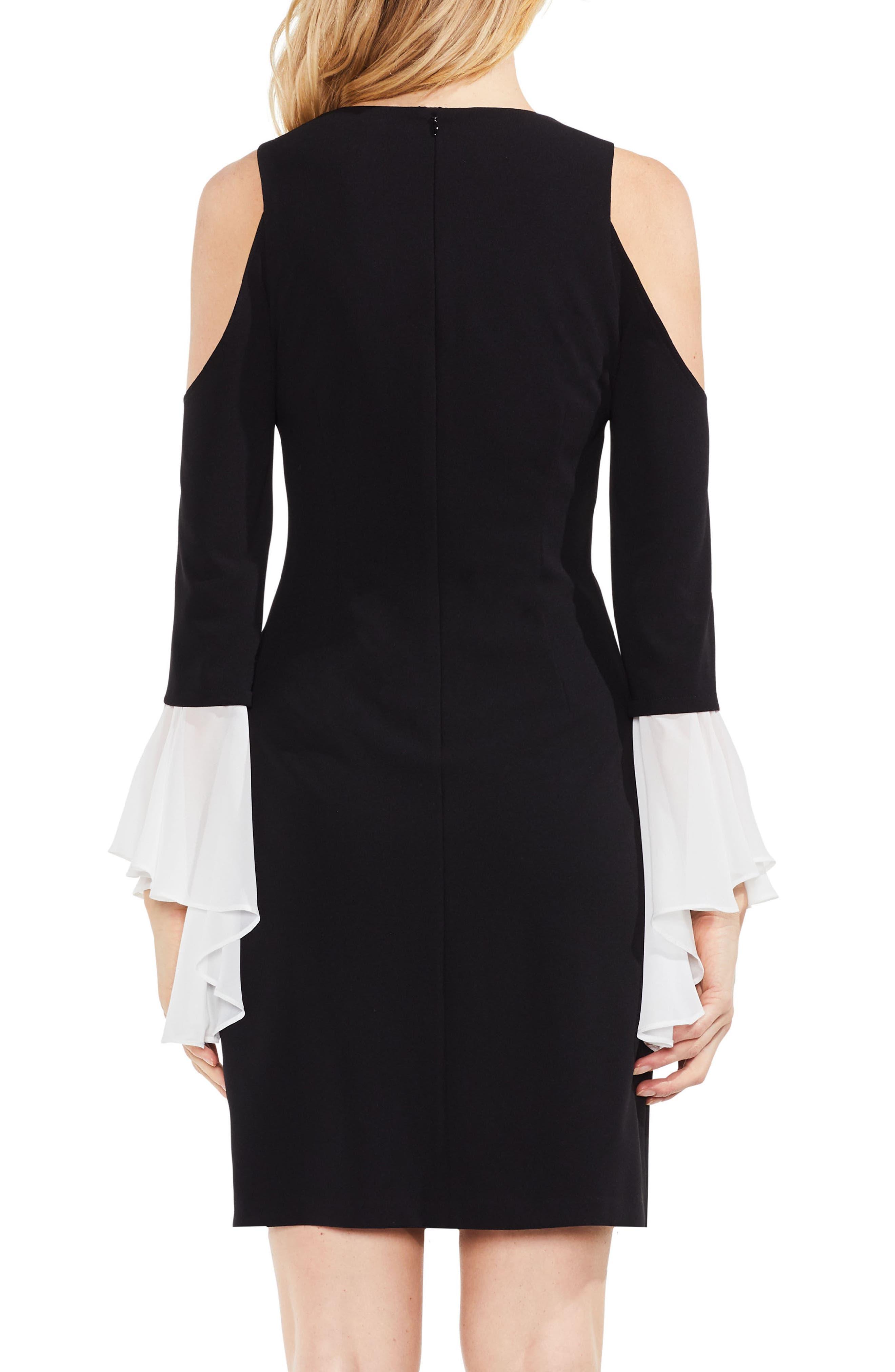 Cold Shoulder Bell Sleeve Ponte Dress,                             Alternate thumbnail 2, color,                             Rich Black